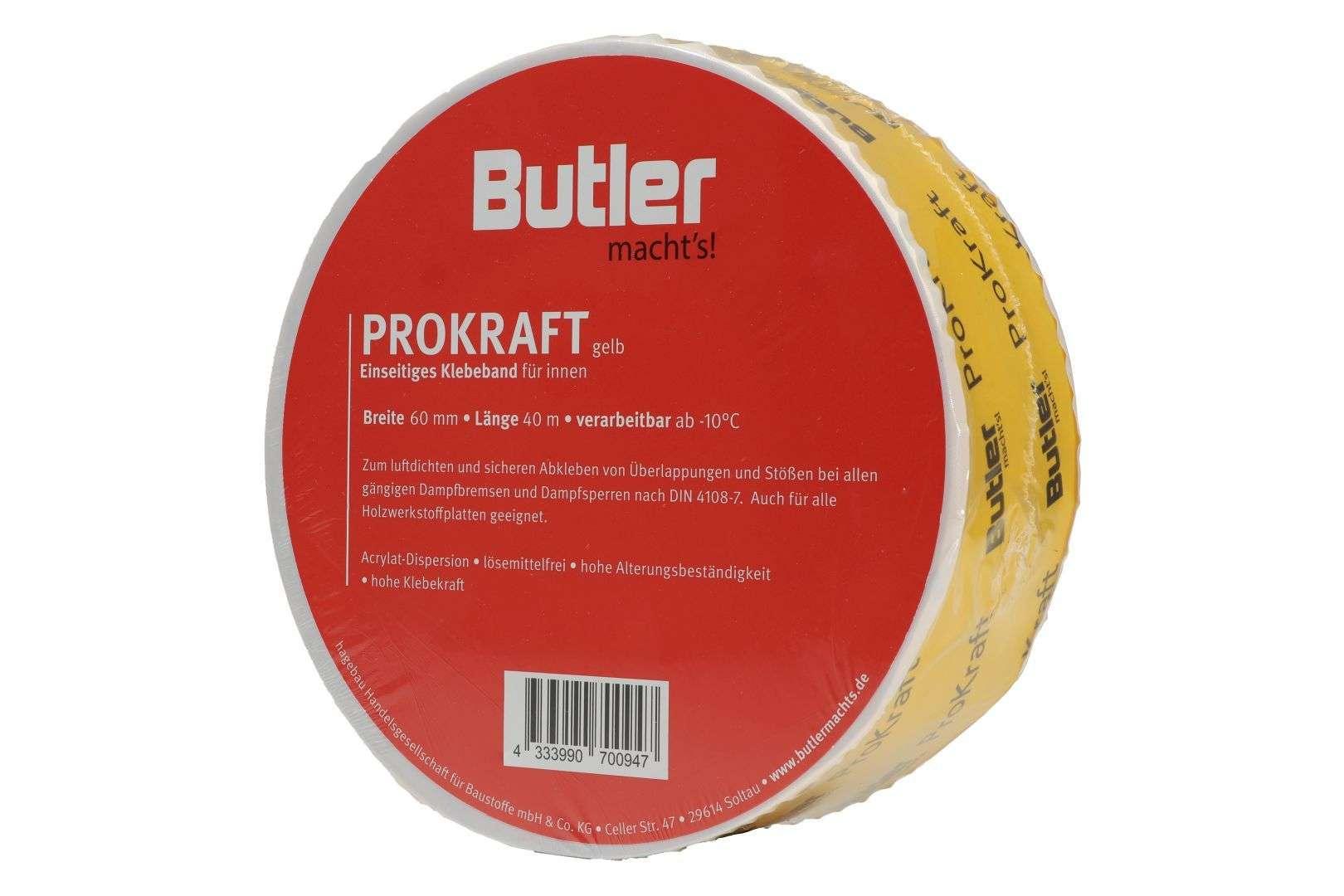 Butler macht's! ProKraft Klebeband für innen, einseitig selbstklebend, gelb, 40 m x 60 mm