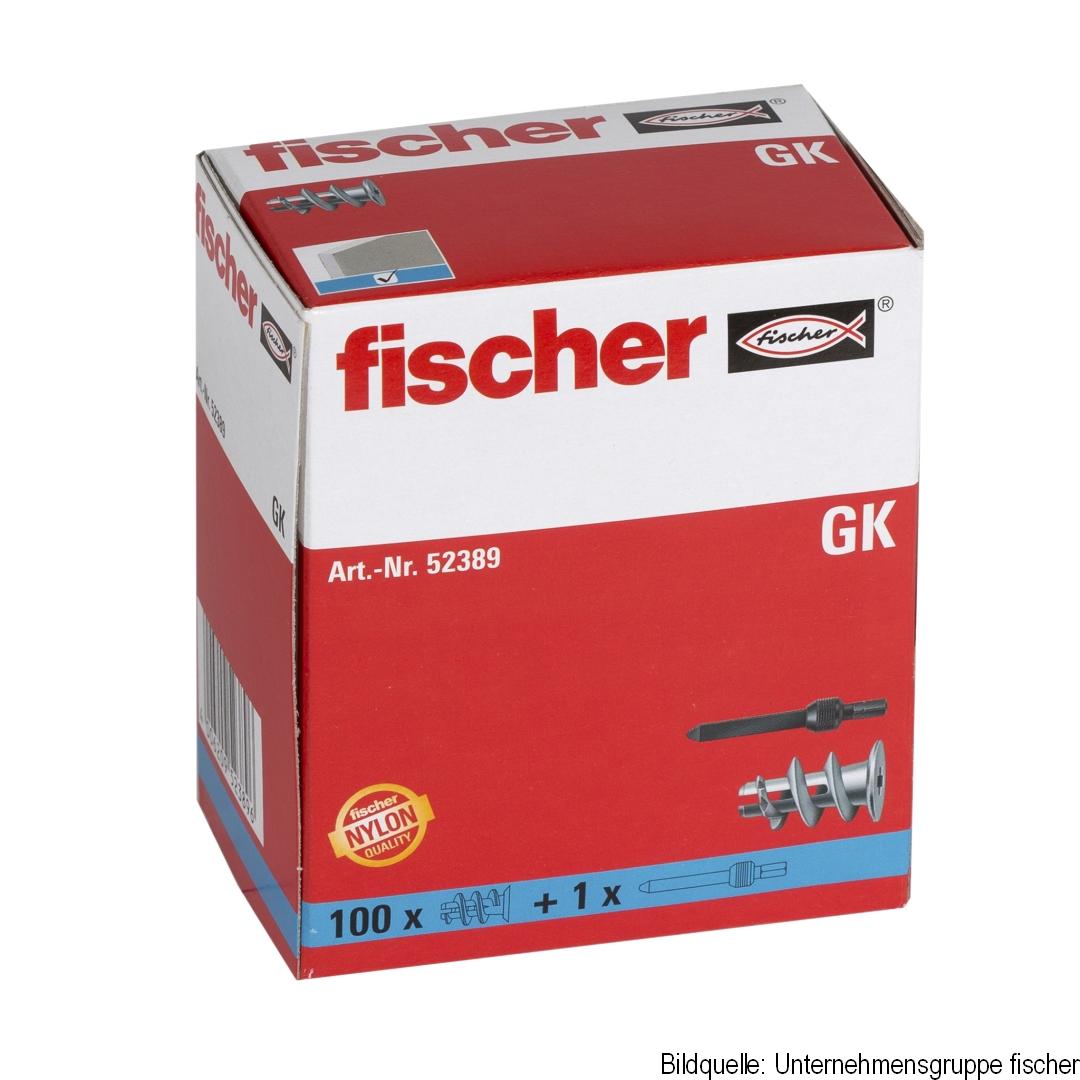 fischer Gipskartondübel GK, inklusive einem Setz- und Eindrehwerkzeug GKW, 100 Stück