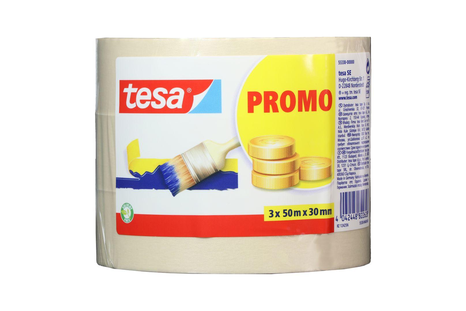 tesa UNIVERSAL, Malerband, Fixier- und Abdeckband, Kreppband, Papierabdeckband, 3er Pack, 3 x 50 m x 30 mm