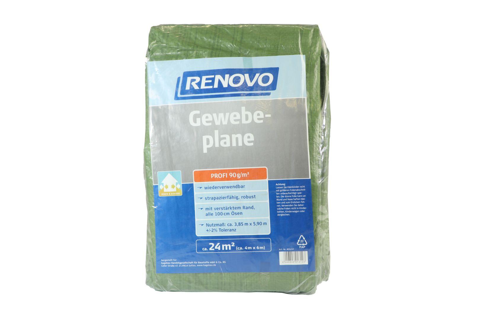 RENOVO Gewebeplane Profi, grün, mit Ösen, 6 x 4 m
