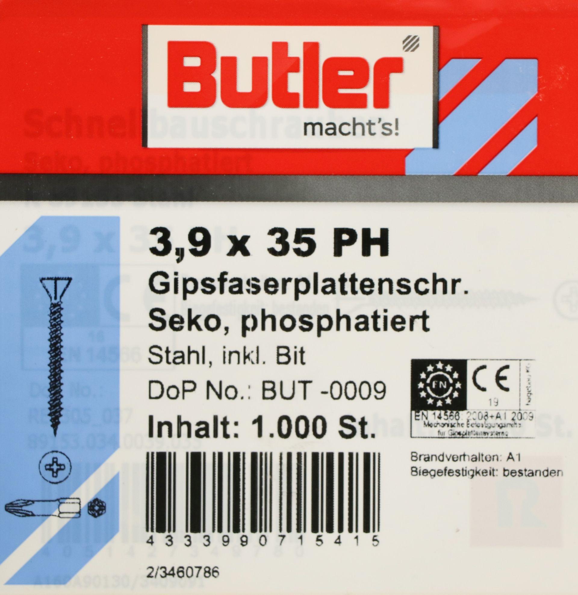 Butler macht's! Gipsfaserplattenschraube mit Bit, Stahl, Senkkopf, phosphatiert, 3,9 x 35 mm, 1.000 Stück
