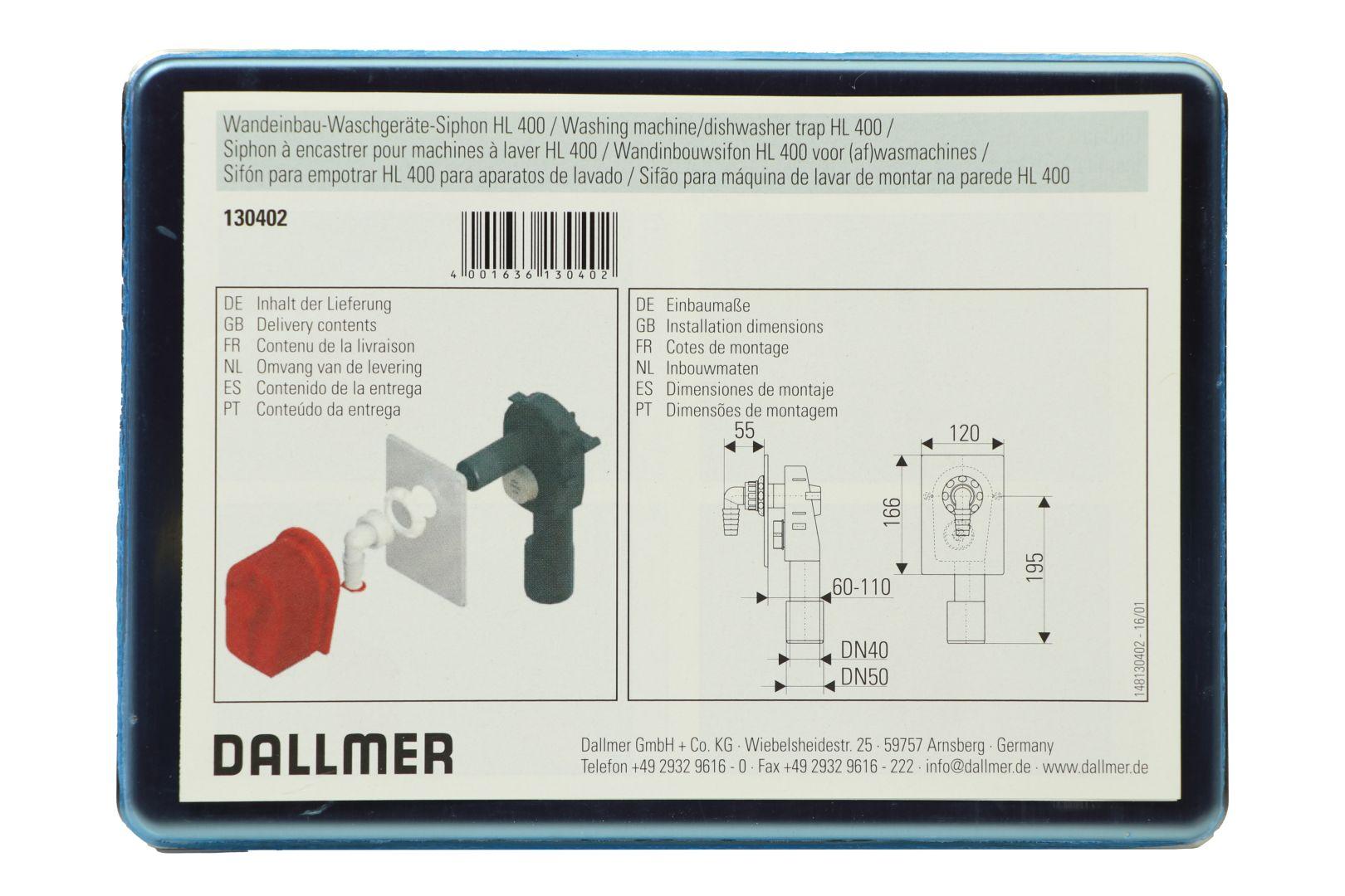 DALLMER Wandeinbau-Waschgeräte-Siphon HL 400, DN 40/DN 50