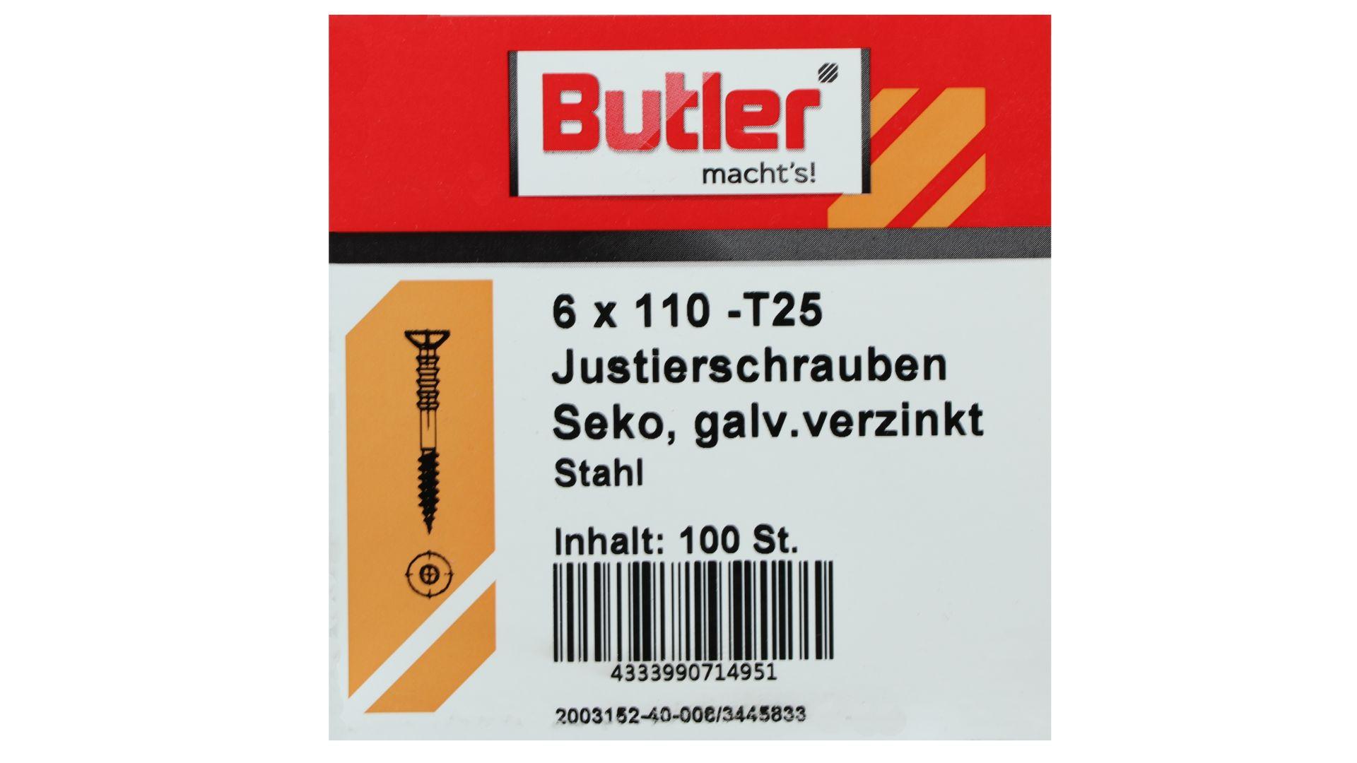 Butler macht's! Justierschraube, Stahl, Senkkopf, galvanisch verzinkt, T25, 6 x 110 mm, 100 Stück