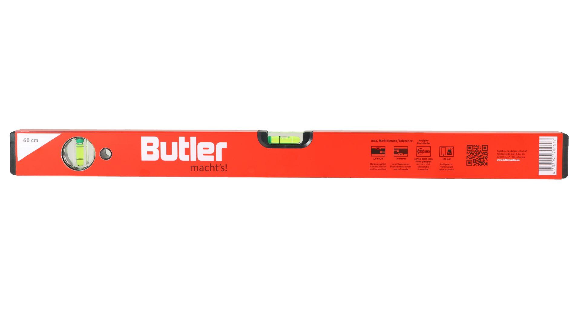 Butler macht's! Wasserwaage aus Leichtmetall, eine horizontale, eine vertikale Libelle, Länge 60 cm
