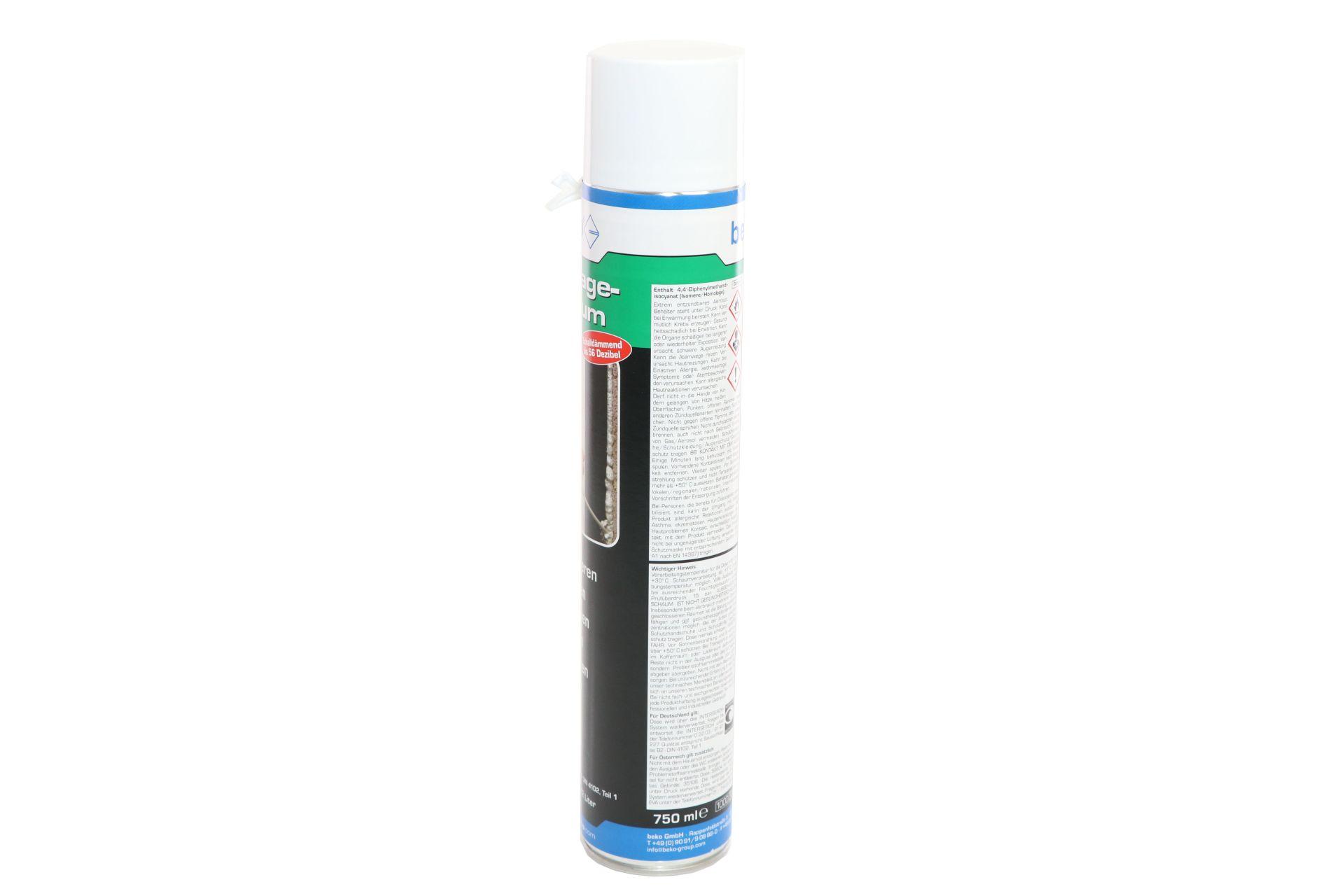 beko 1-Komponenten Polyurethan-Montageschaum, B2-Qualität, Ausbeute ca. 42 l, 750 ml Dose