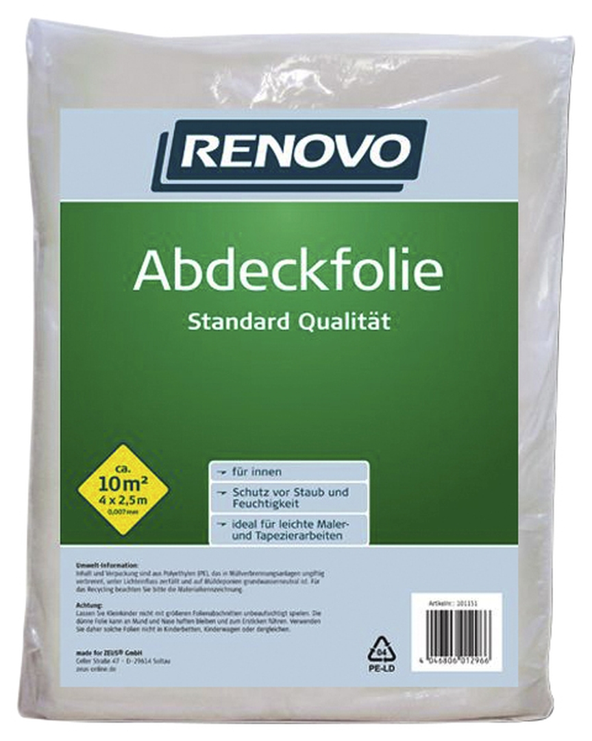 RENOVO Abdeckfolie, aus Kunststoff, Abdeckfläche: 10 m², 2,5 x 4 m x 7 µm