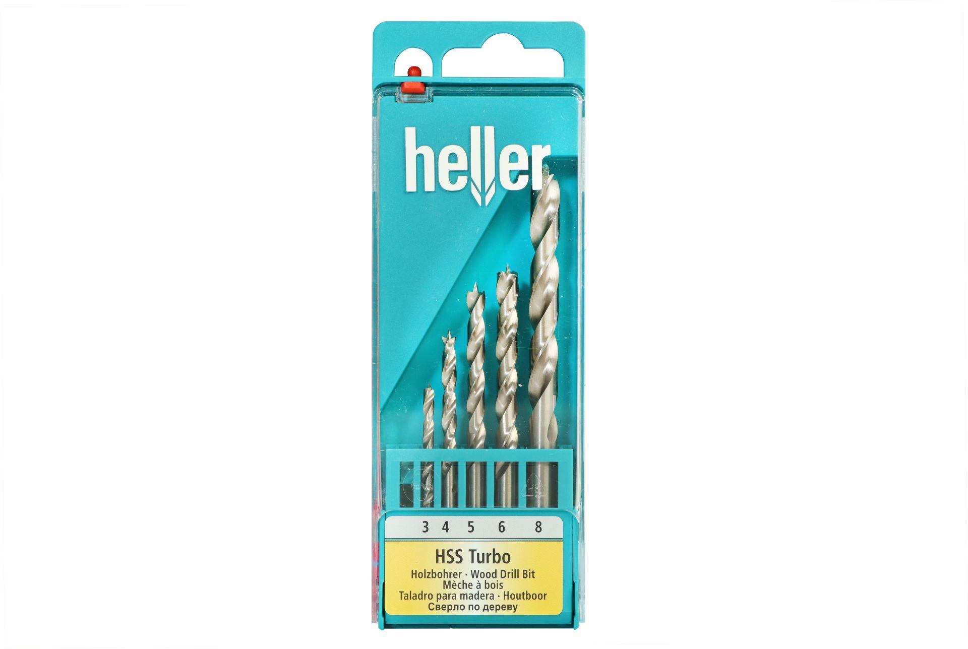 Heller HSS Turbo Holzbohrer-Set, 5-teilig, Ø 3/4/5/6/8 mm