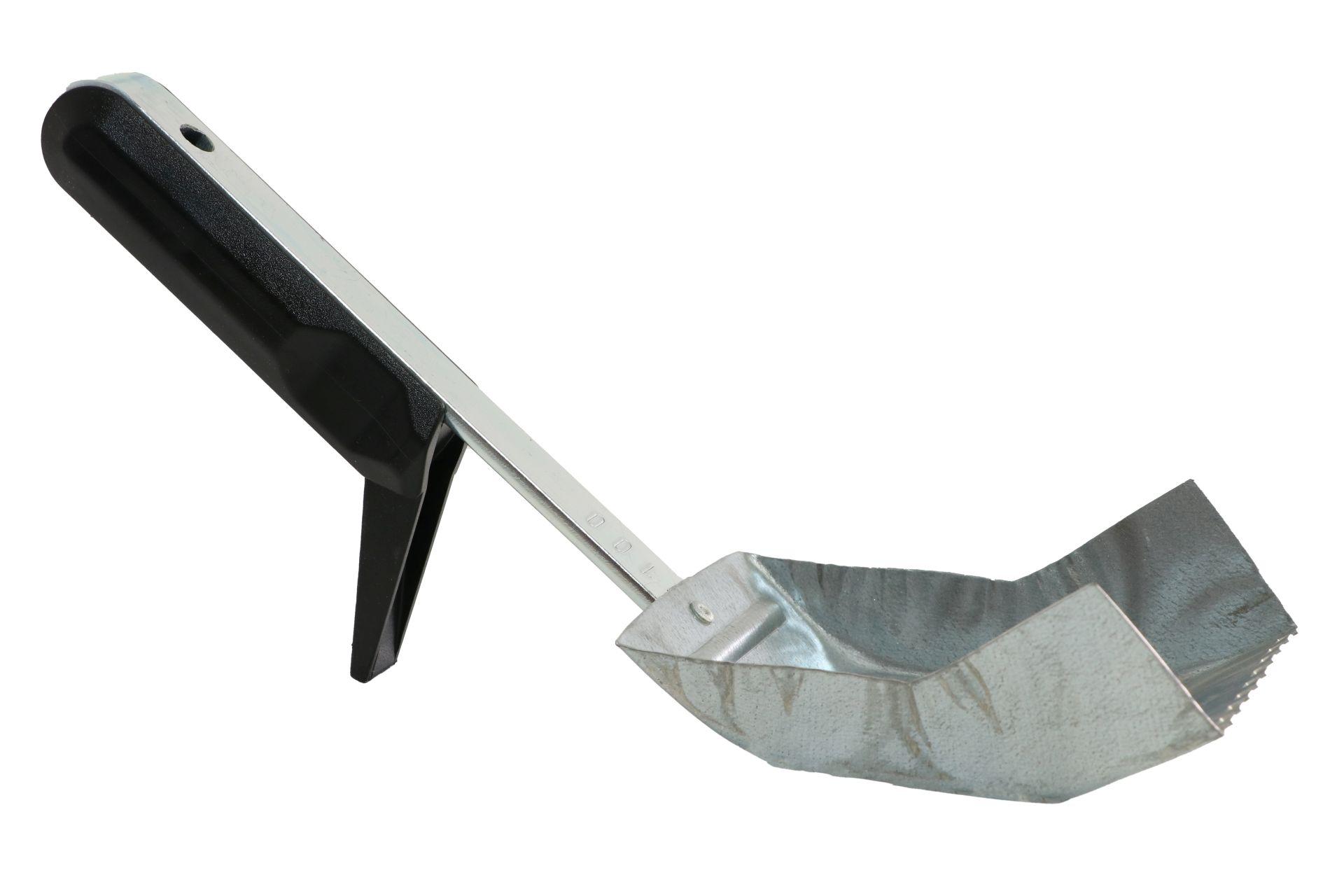 TRIUSO Klebekelle für Porenbeton, Griff aus Kunststoff und Metall, Zahnung 5 x 5 mm, Blattlänge 100 mm