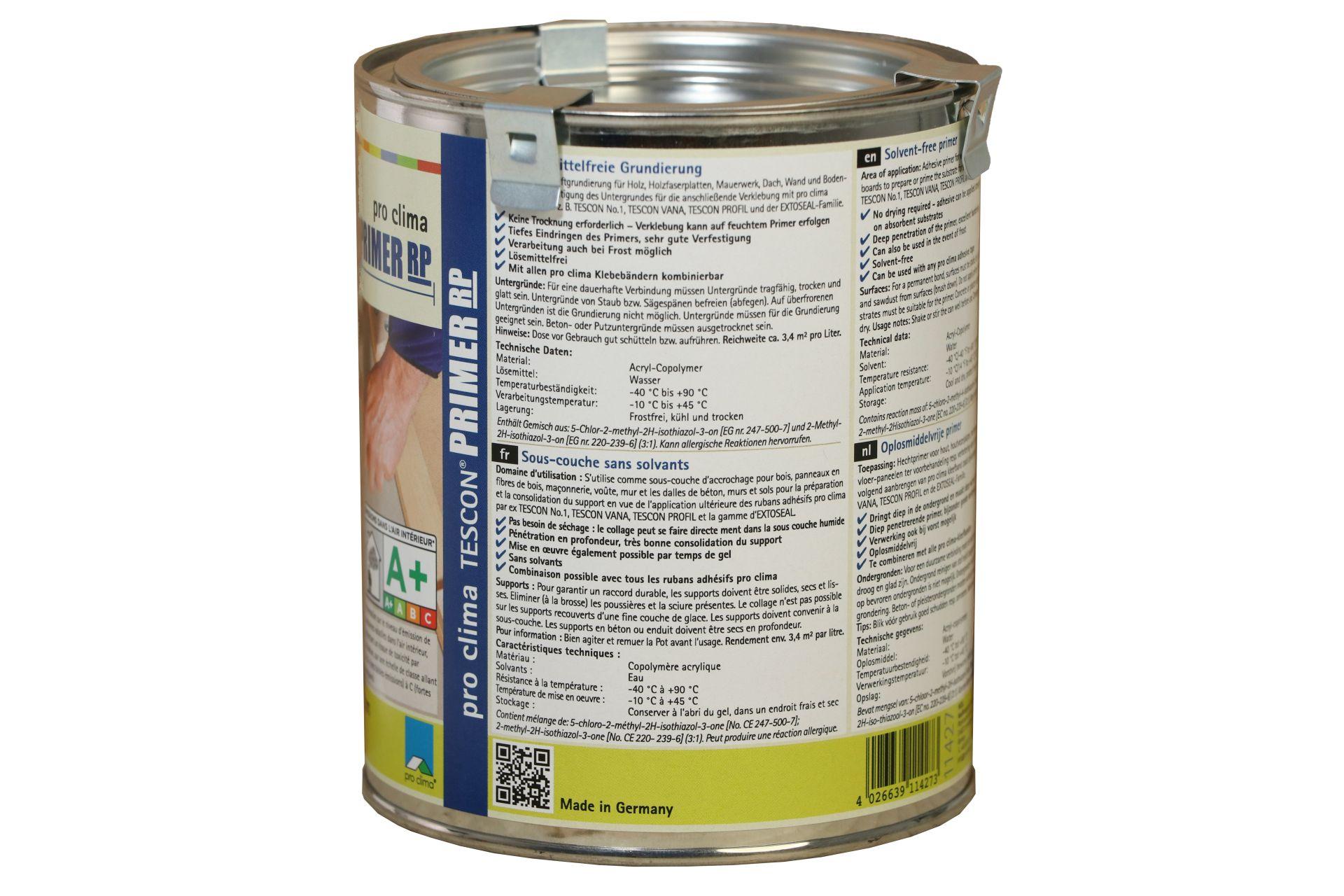 pro clima TESCON PRIMER RP, lösemittelfreie Grundierung, 750 ml