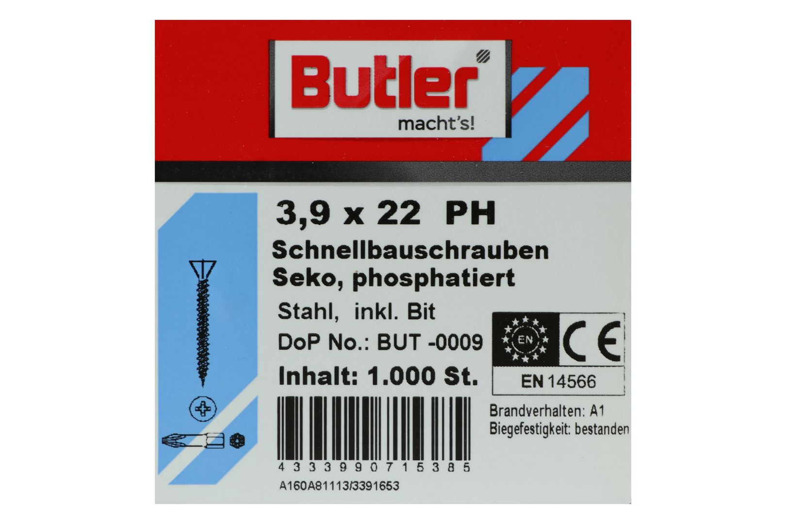 Butler macht's! Schnellbauschrauben inkl. Bit für Faserplatten auf Holz und Metall bis 0,6 mm, HiLo-Gewinde, PH2, 3,9 x 22 mm, 1.000 Stück