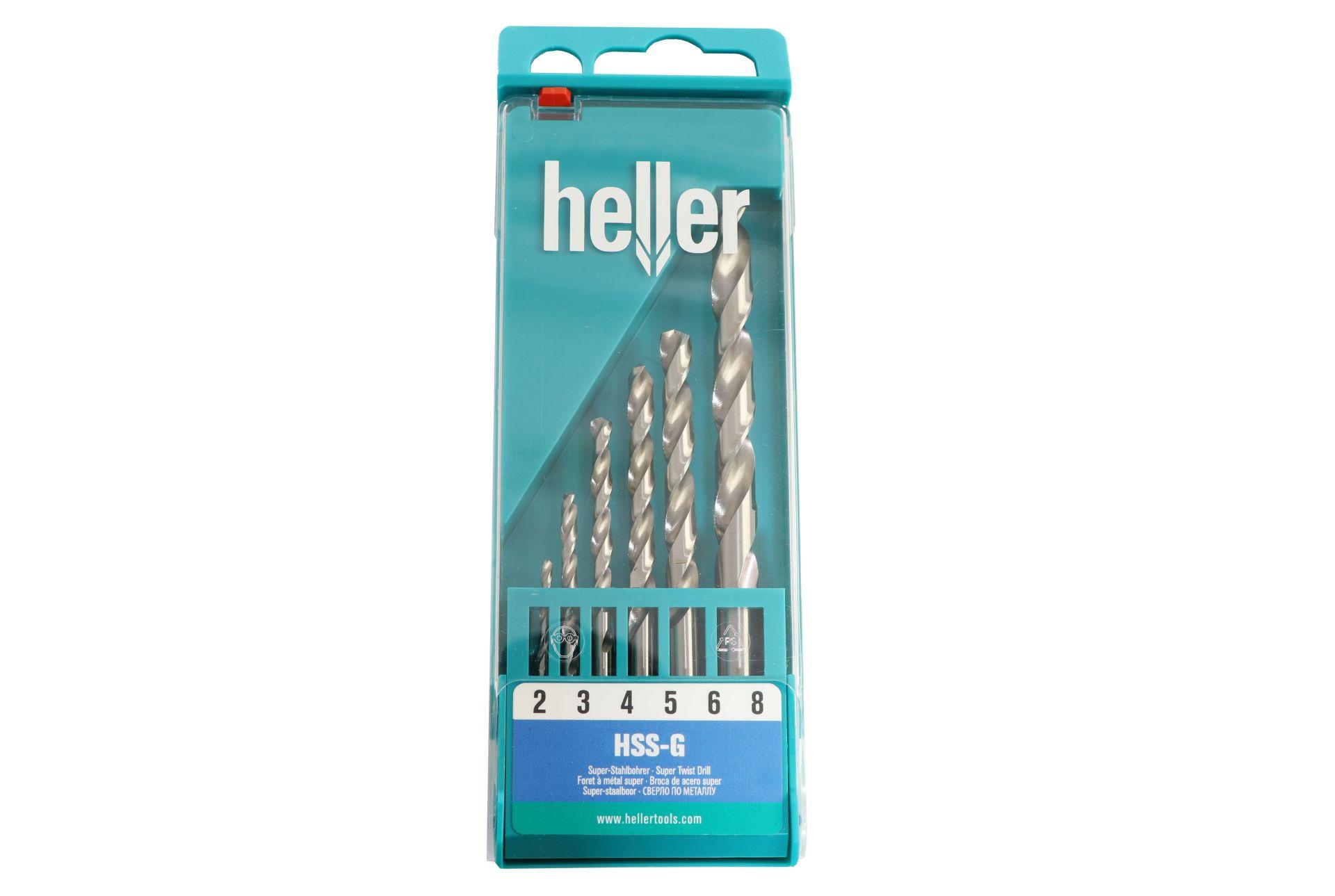 heller Super-Stahlbohrer-Set, Serie 'HSS-G', 6-teilig, Ø 2/3/4/5/6/8 mm