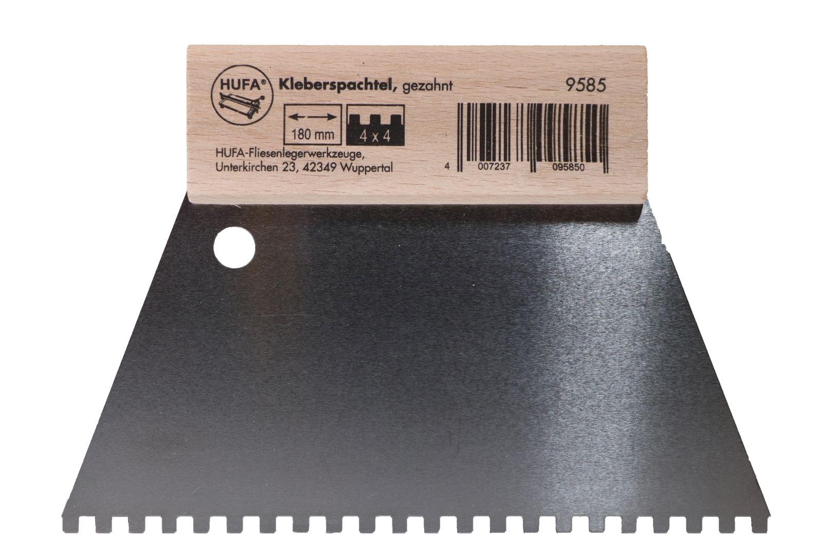 HUFA Leimspachtel, Klebespachtel, Kleberspachtel, Blattbreite 180 mm, Zahnung 4 x 4 mm