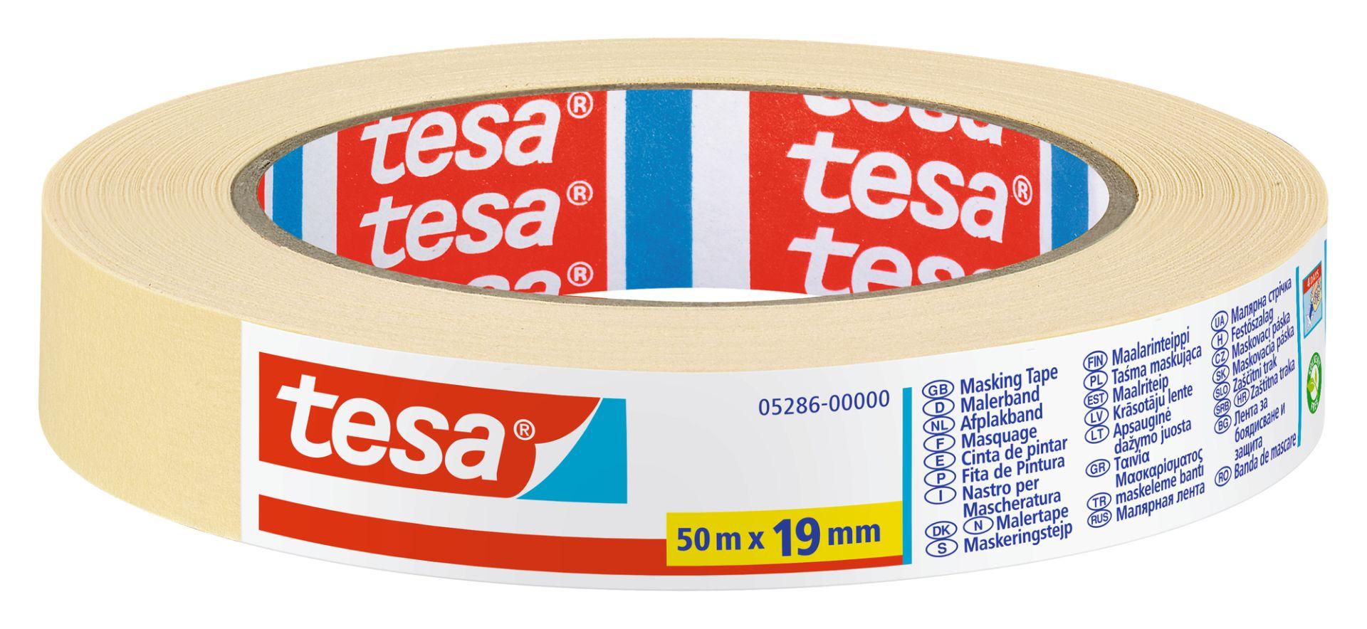 tesa UNIVERSAL, Malerband, Fixier- und Abdeckband, Kreppband, Papierabdeckband, 50 m x 19 mm