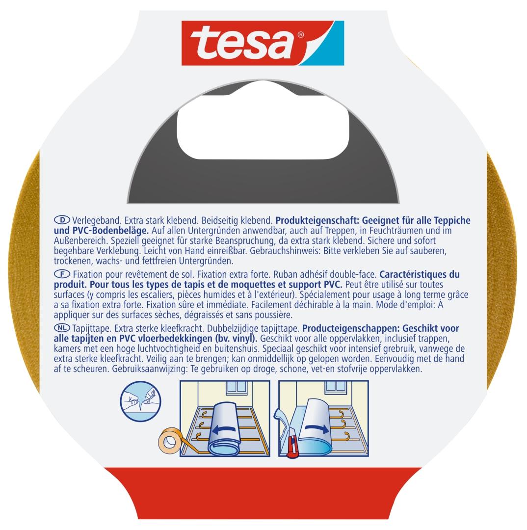tesa Verlegeband, extra stark klebend, beidseitig klebend, für Teppiche und PVC Beläge, 25 m x 50 mm