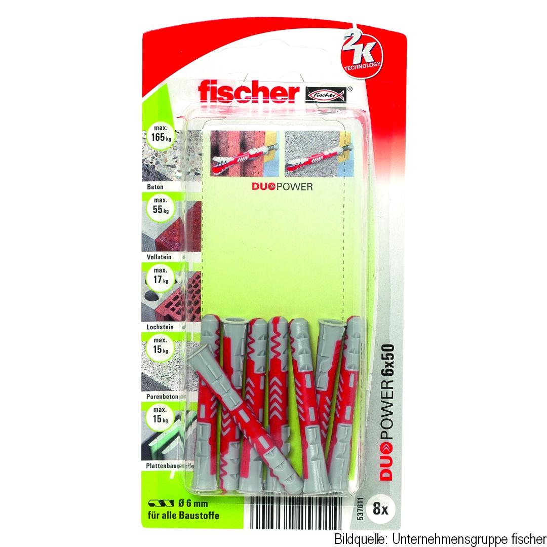 fischer Allzweckdübel DUOPOWER 6 x 50, 8 Stück