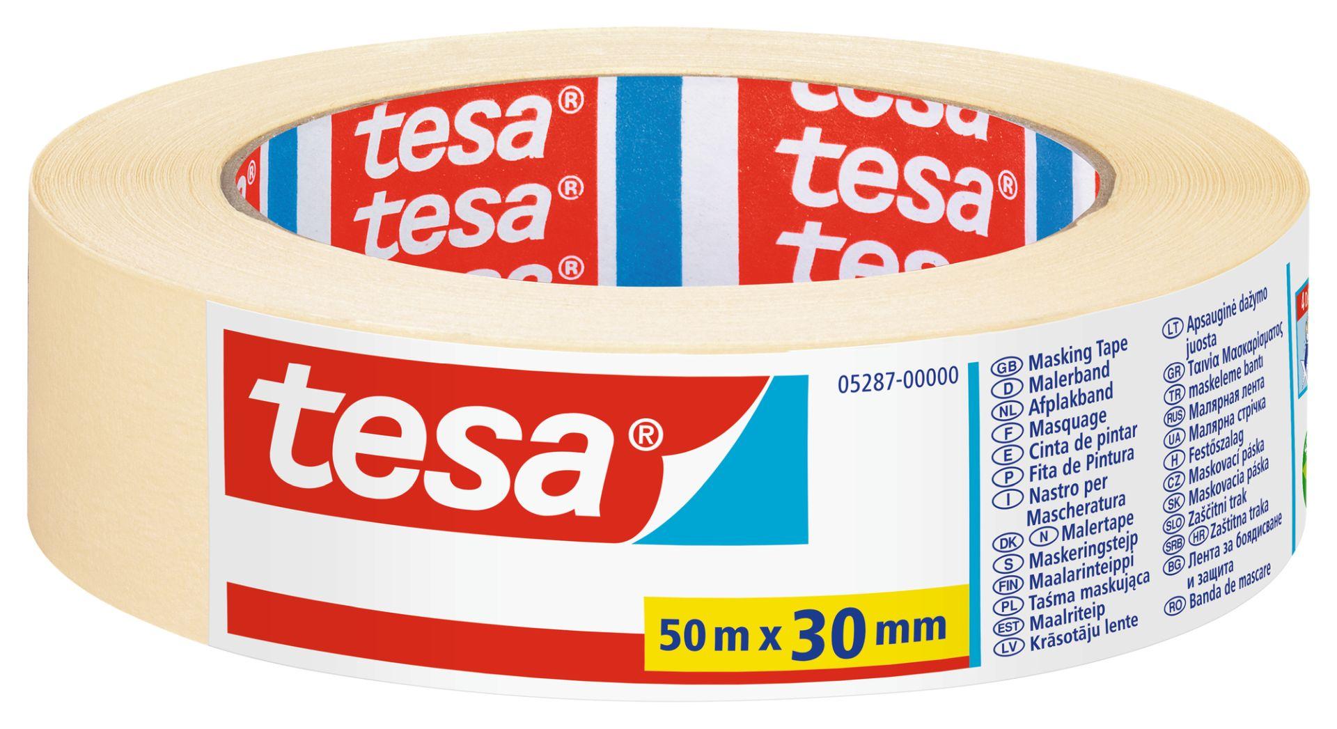 tesa UNIVERSAL, Malerband, Fixier- und Abdeckband, Kreppband, Papierabdeckband, 50 m x 30 mm
