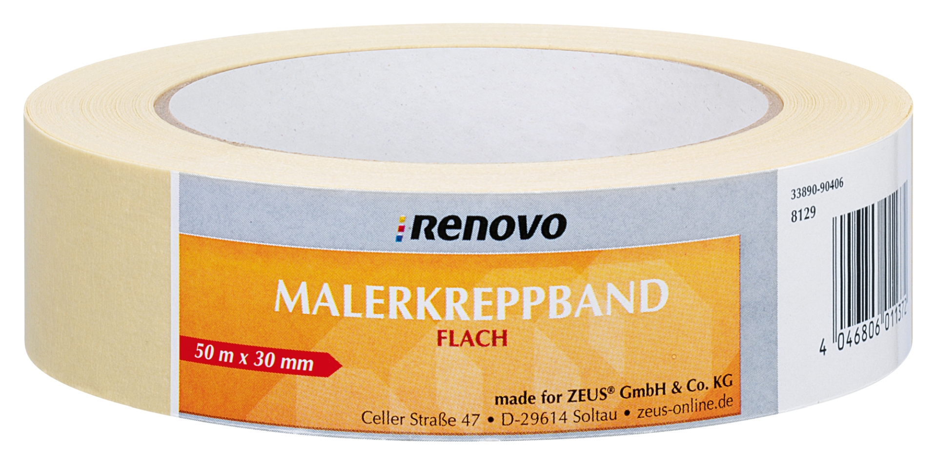 RENOVO Malerkreppband, hohe Nassfestigkeit, 50 m x 30 mm