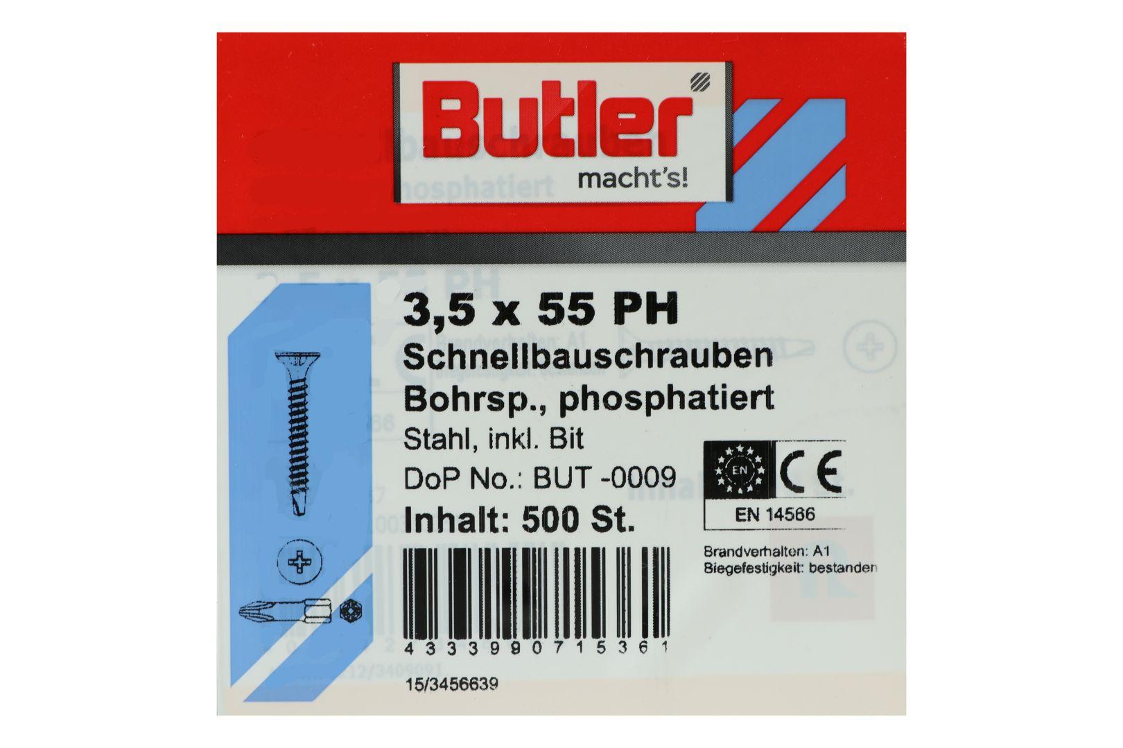 Butler macht's! Schnellbauschrauben inkl. Bit für Gipsplatten auf Metall 0,6 bis 2 mm, Bohrspitze, Feingewinde, PH2, 3,5 x 55 mm, 500 Stück