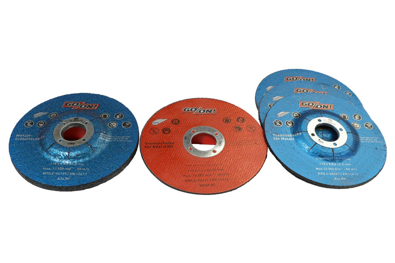 GO/ON Trenn- und Schleifscheiben-Set, für Metalle und Edelstahl, Ø 115 mm, 5-teilig