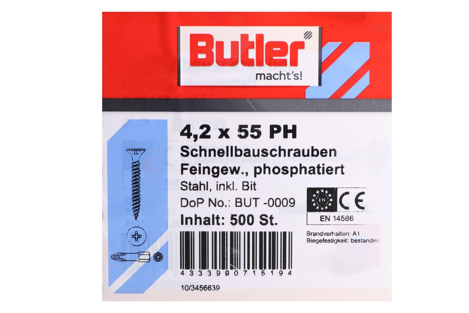 Butler macht's! Schnellbauschrauben inkl. Bit für Gipsplatten auf Metall bis 0,6 mm, Feingewinde, PH2, 4,2 x 55 mm, 500 Stück
