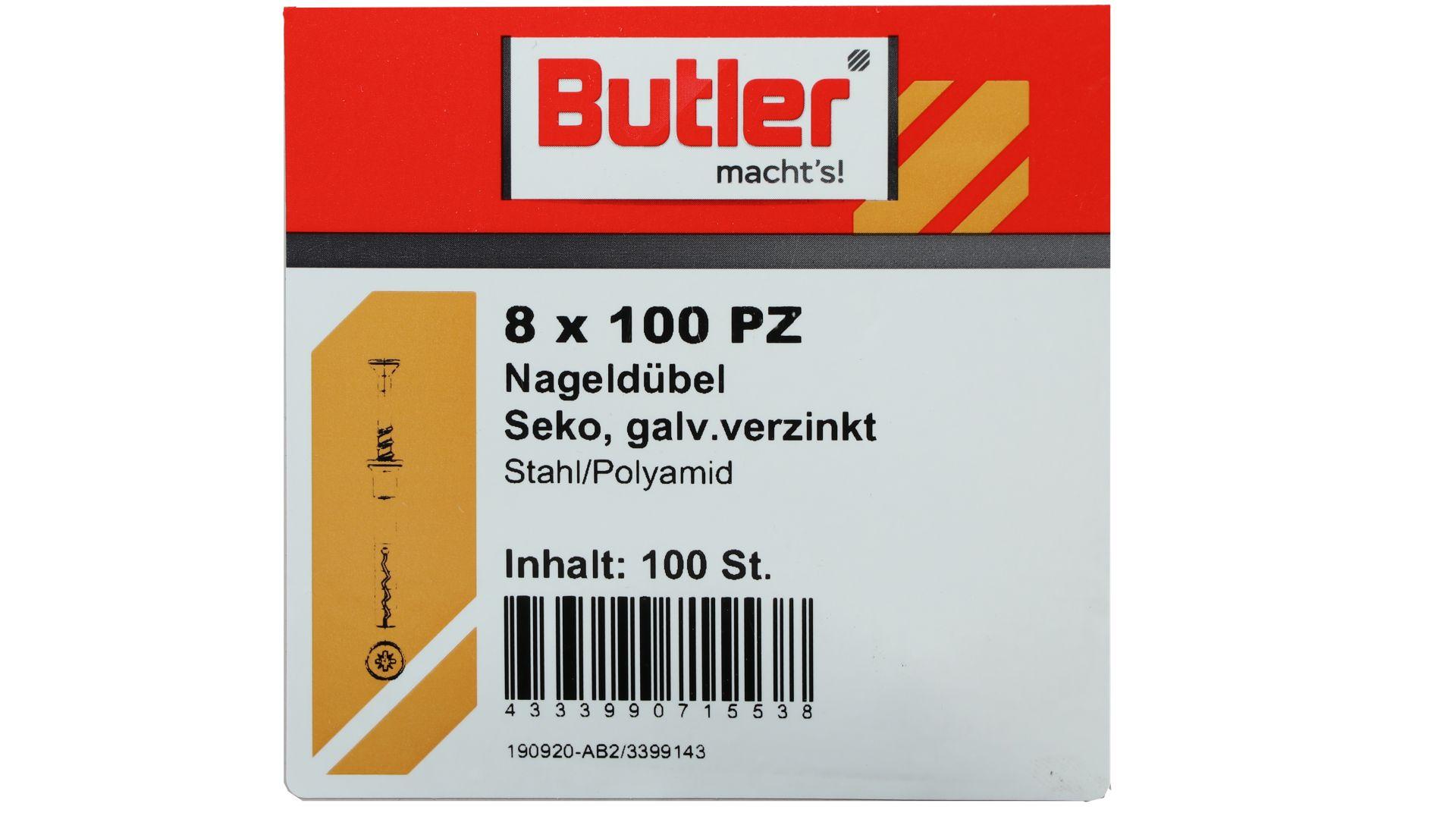 Butler macht's! Nageldübel, Stahl / Polyamid, Senkkopf, galvanisch verzinkt 8 x 100 mm, 100 Stück