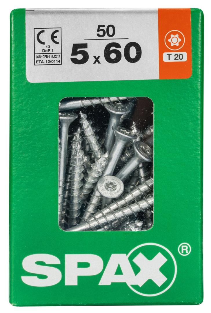 SPAX Universalschraube, Teilgewinde, Senkkopf, T-STAR plus T20, 4CUT, WIROX, 5 x 60 mm, 50 Stück