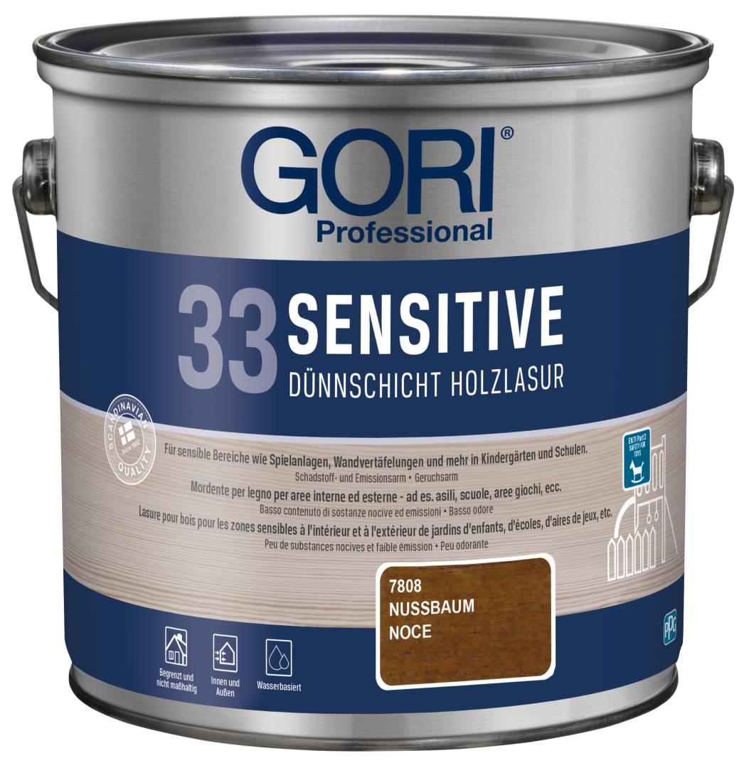 GORI Professional 33 SENSITIVE, Dünnschicht-Holzlasur, nussbaum, 2,5 l