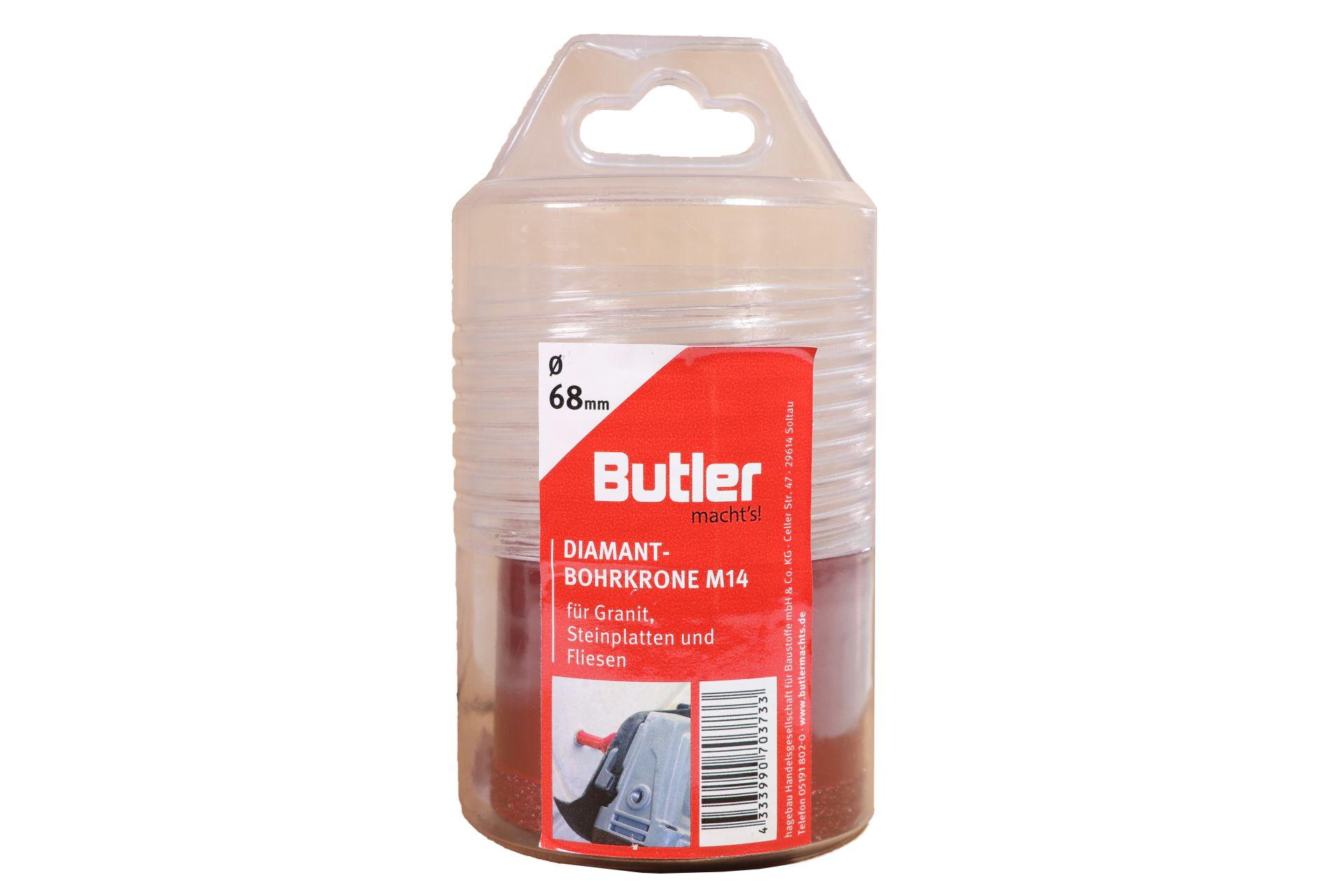 Butler macht's! Diamant-Bohrkrone, Ø 68 mm, Aufnahme M14, Bohrtiefe 45 mm