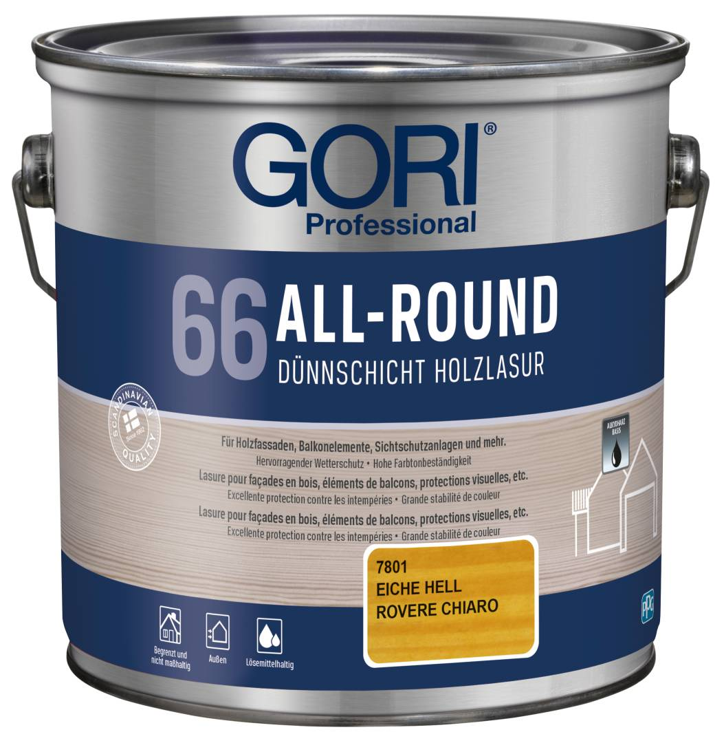 GORI Professional 66 ALL-ROUND, Dünnschicht-Holzlasur, eiche hell, 2,5 l