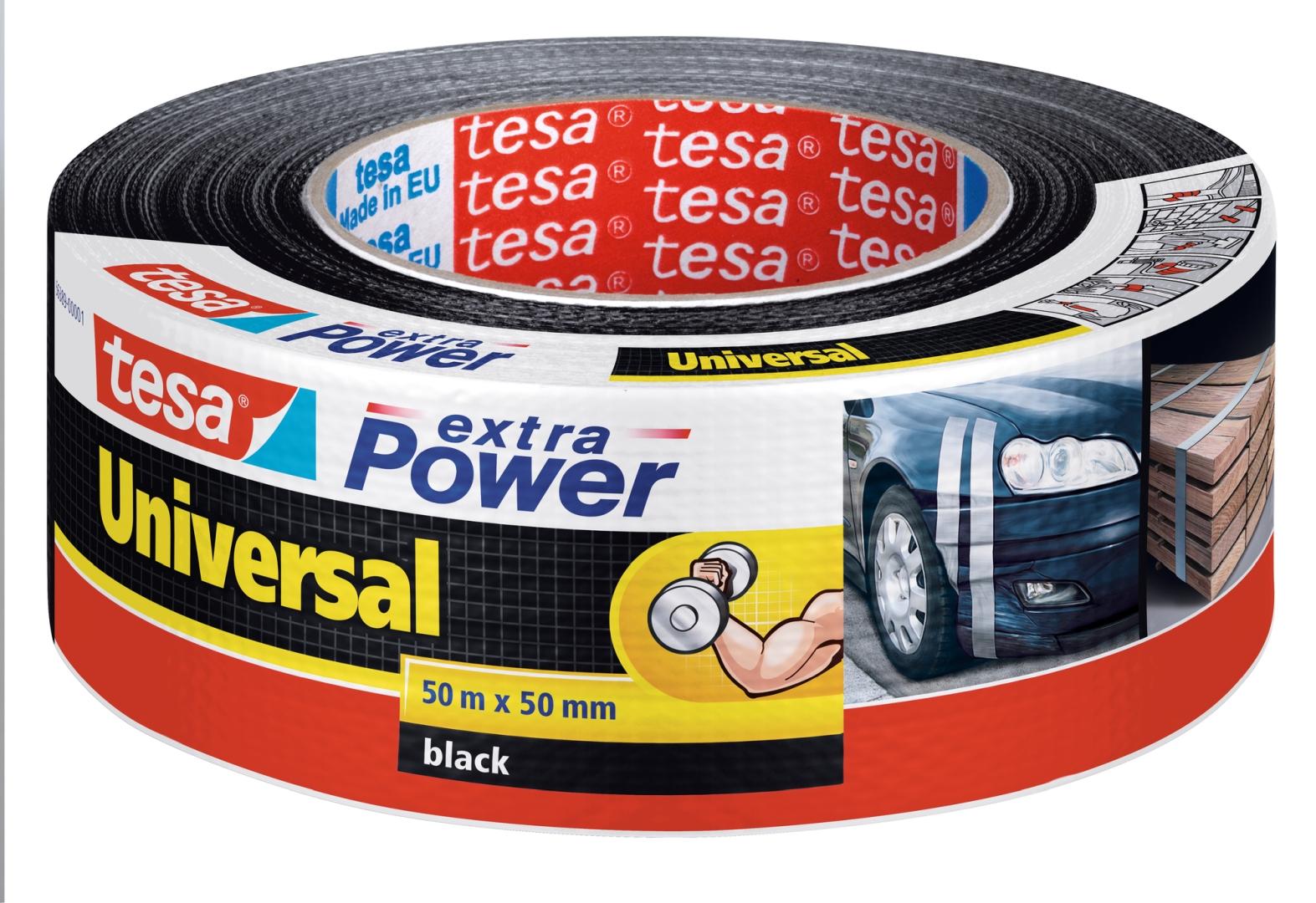 tesa extra Power universal, von Hand einreißbar, hohe Wetterfestigkeit, schwarz, 50 m x 50 mm