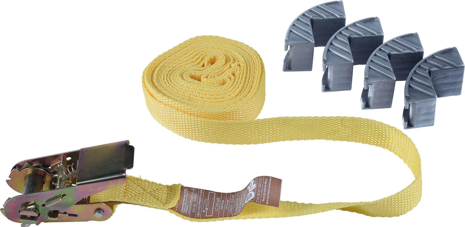 CONNEX Zurrgurt mit 4 x Kantenschutz, 5 m x 25 mm, Polypropylen