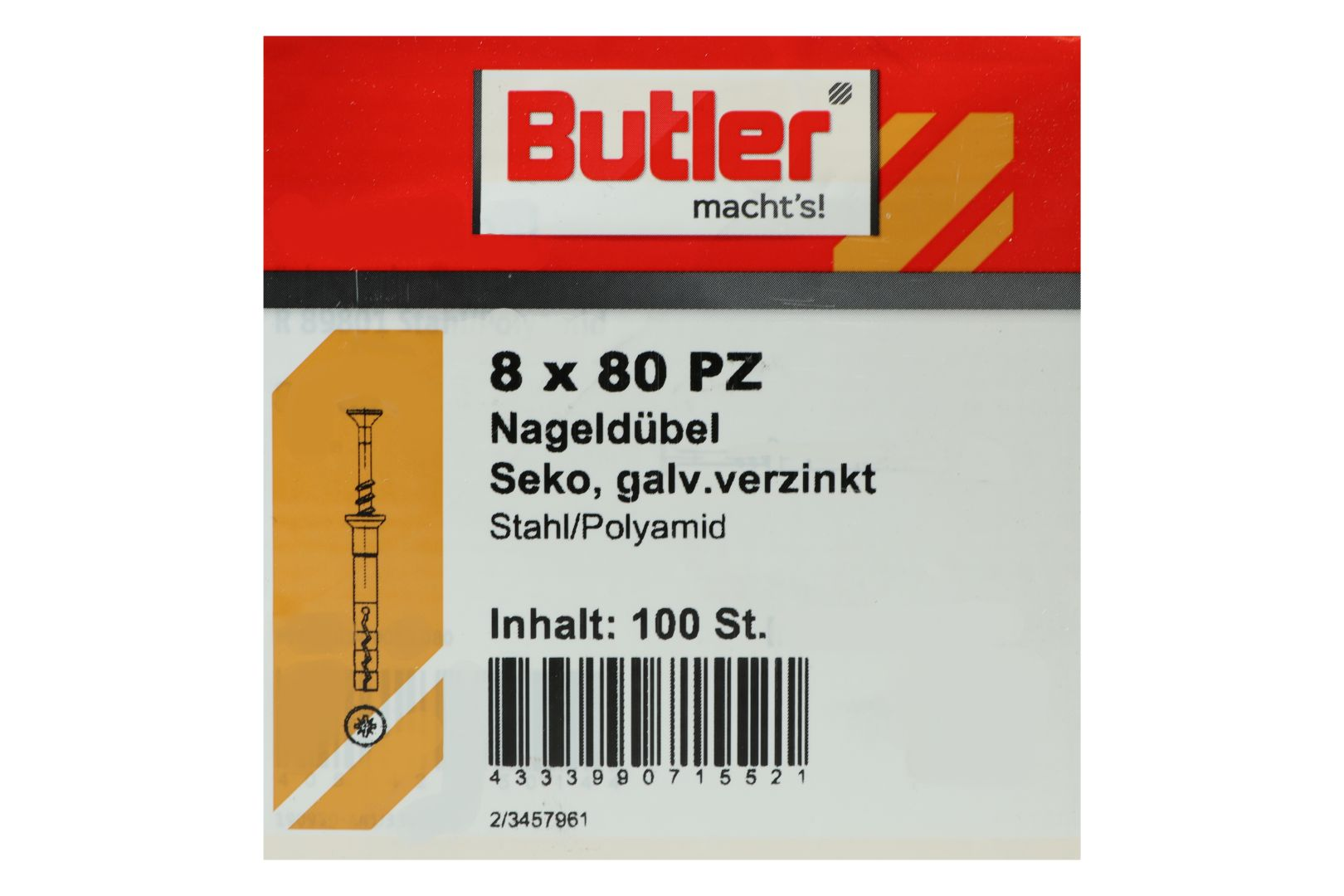 Butler macht's! Nageldübel, Stahl / Polyamid, Senkkopf, galvanisch verzinkt 8 x 80 mm, 100 Stück