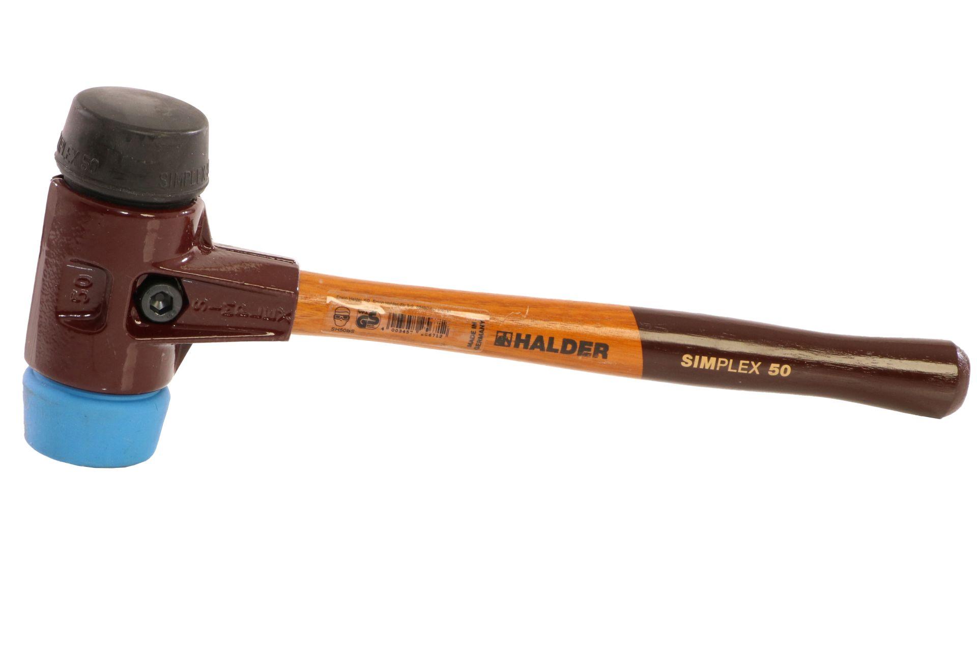 TRIUSO Simplex-Schonhammer, TPE-Soft, blau, Gummikomposition schwarz, 50 mm
