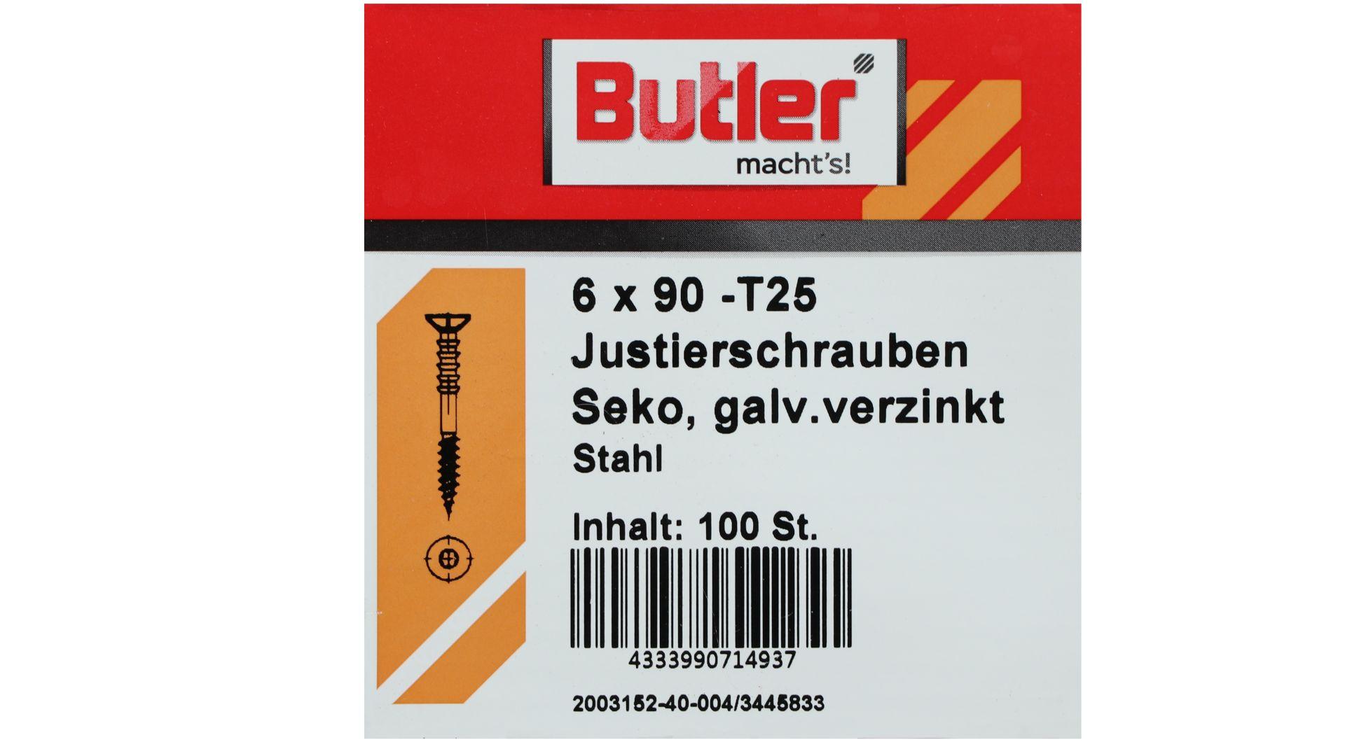 Butler macht's! Justierschraube, Stahl, Senkkopf, galvanisch verzinkt, T25, 6 x 90 mm, 100 Stück