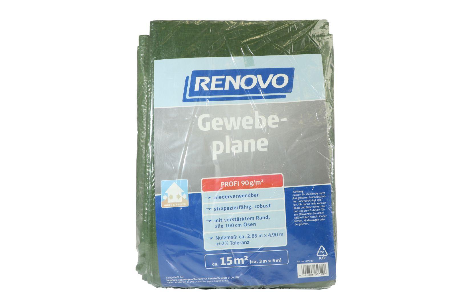 RENOVO Gewebeplane Profi, grün, mit Ösen, 5 x 3 m