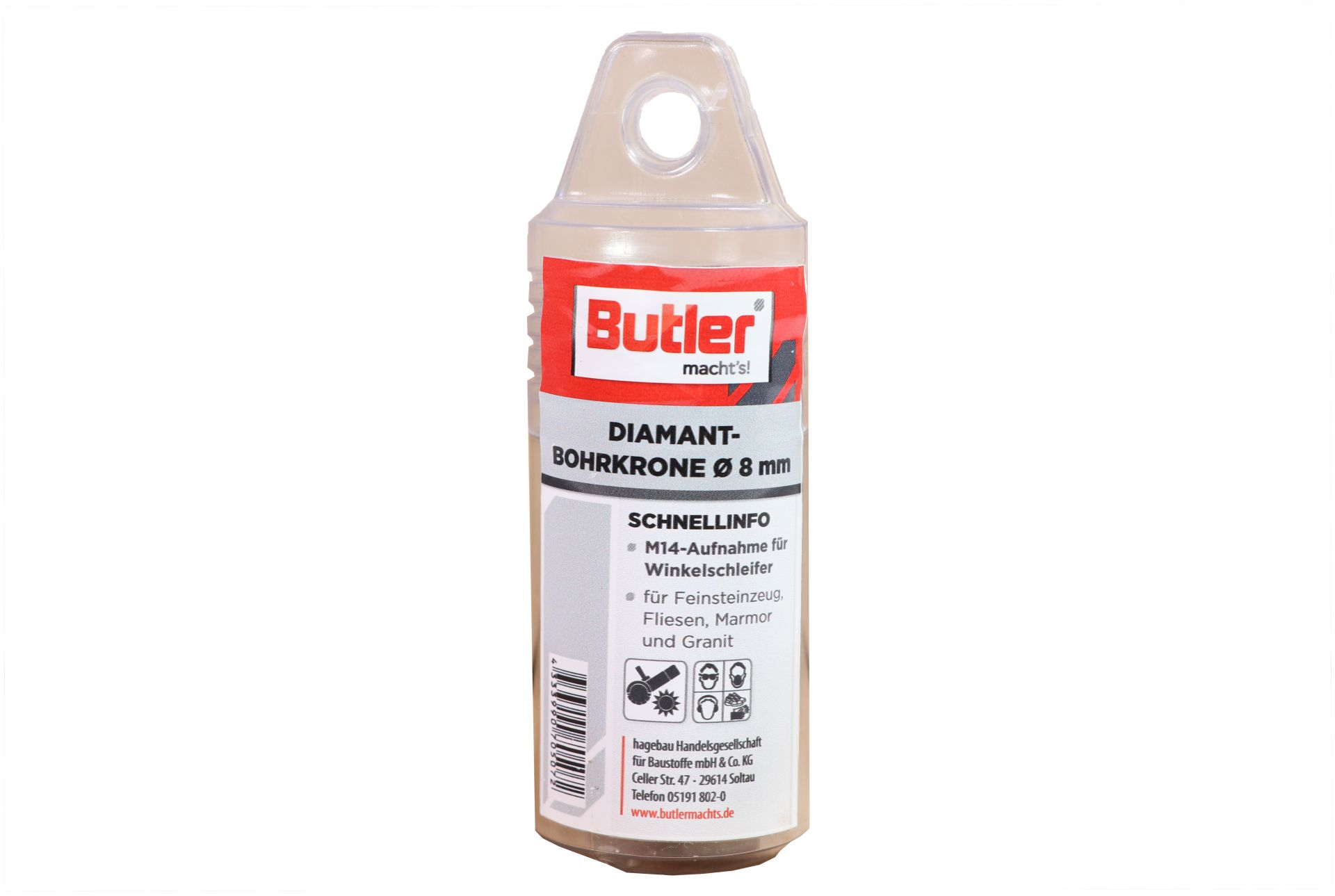 Butler macht's! Diamant-Bohrkrone, Ø 8 mm, Aufnahme M14, Bohrtiefe 35 mm