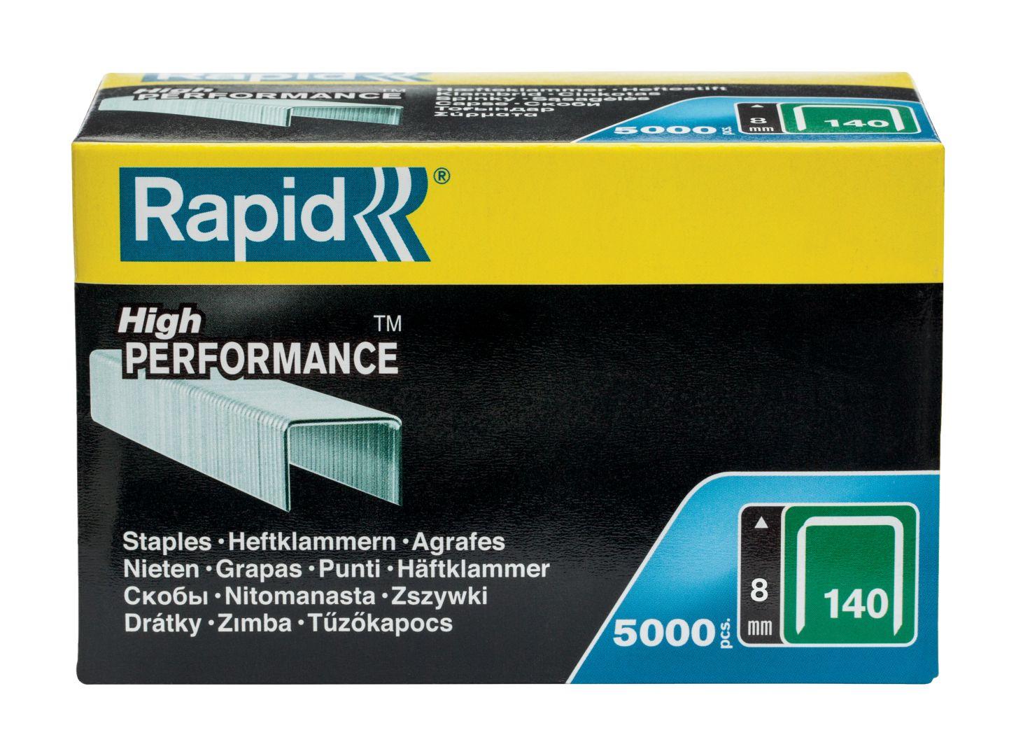 Rapid High PERFORMANCE Heftklammern, Typ 140, 8 mm Schenkellänge, 5.000 Stück