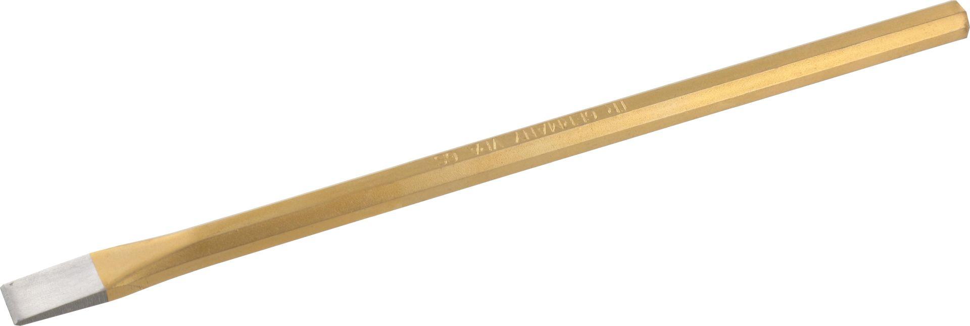 TRIUSO Elektrikermeißel, achtkant, flach, gehärtet, golden lackiert, Schneidenbreite 10 x 200 mm