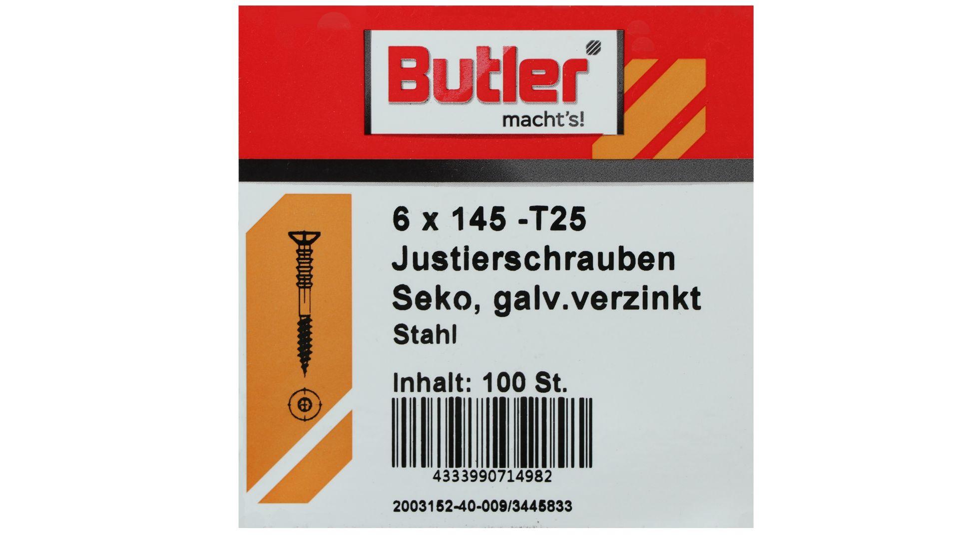 Butler macht's! Justierschraube, Stahl, Senkkopf, galvanisch verzinkt, T25, 6 x 145 mm, 100 Stück