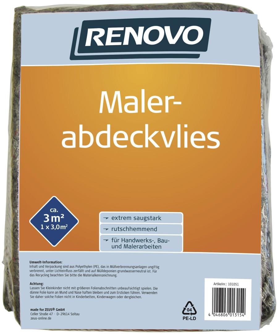 RENOVO Malerabdeckvlies, einseitig kaschiert mit Kunststoff, Abdeckfläche 3 m², 3 x 1 m
