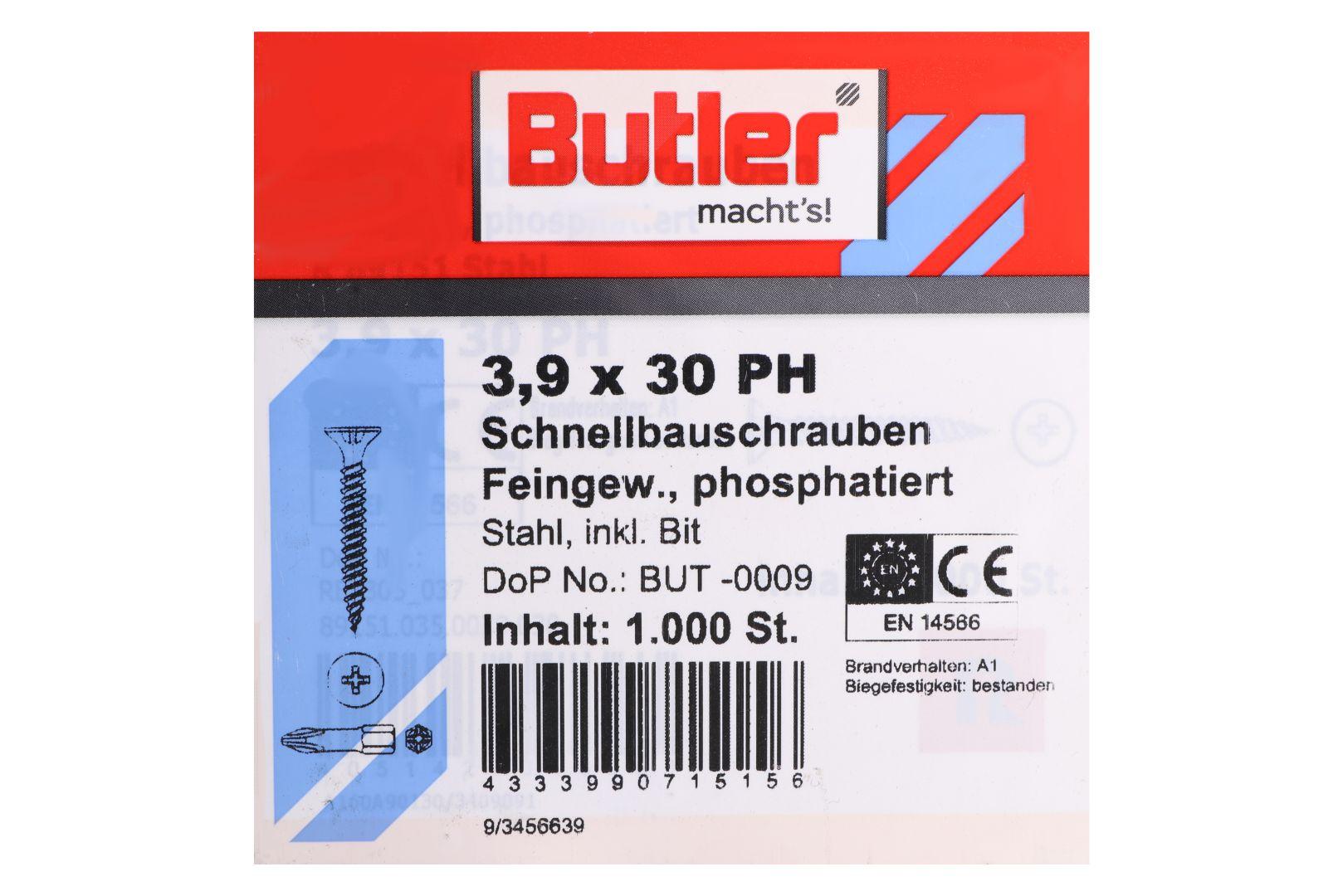 Butler macht's! Schnellbauschrauben inkl. Bit für Gipsplatten auf Metall bis 0,6 mm, Feingewinde, PH2, 3,9 x 30 mm, 1.000 Stück