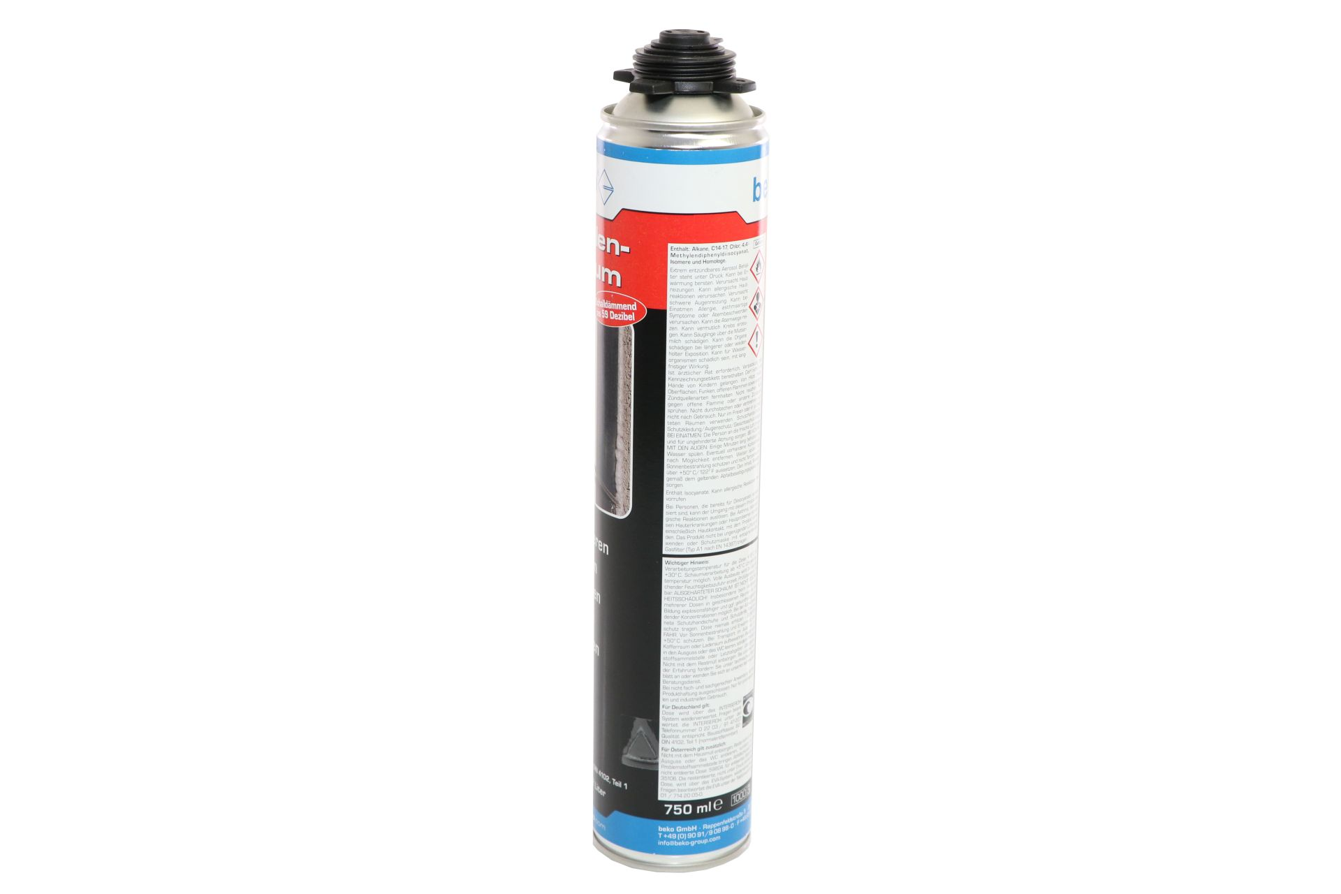 beko 1-Komponenten Polyurethan-Pistolenschaum, B2-Qualität, Ausbeute ca. 42 l, 750 ml Dose