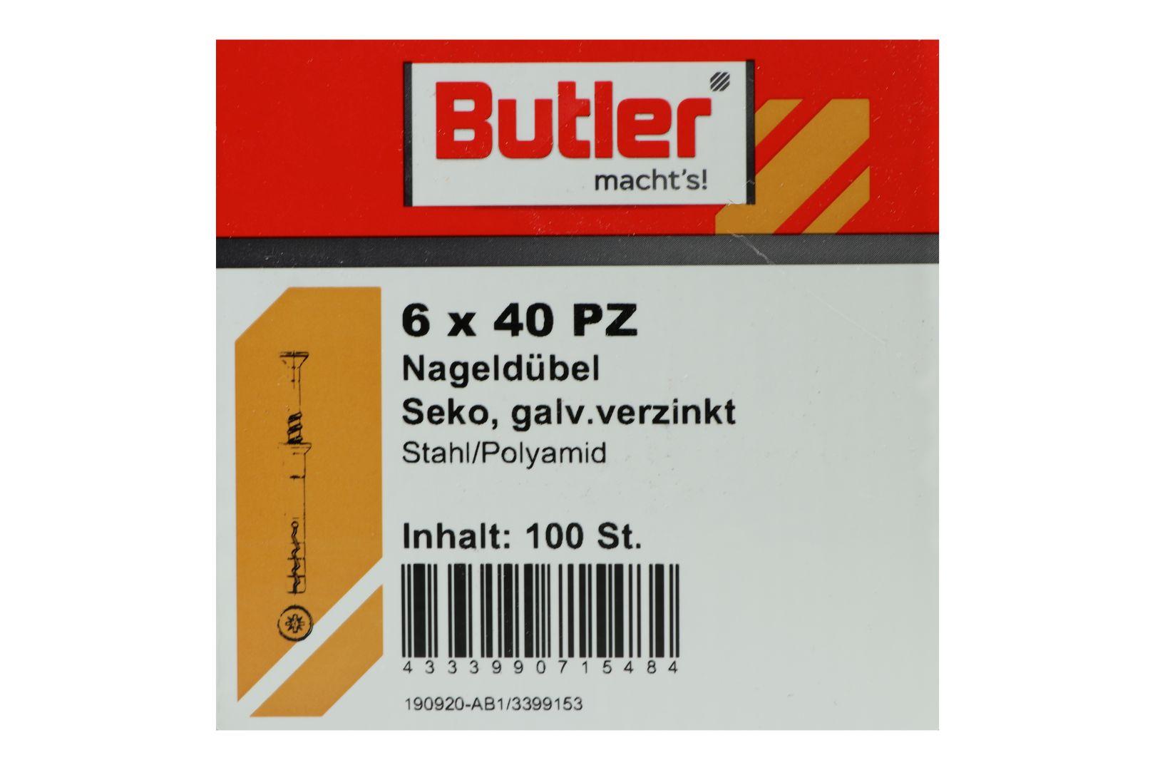 Butler macht's! Nageldübel, Stahl / Polyamid, Senkkopf, galvanisch verzinkt 6 x 40 mm, 100 Stück