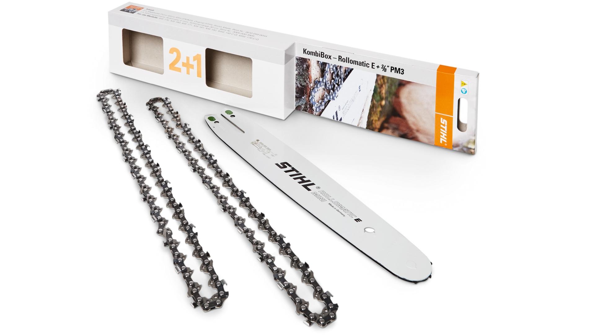 """STIHL KombiBox Rollomatik E + 3/8"""" PM3, Sägeketten-Führungsschienen-Set 3/8"""" PM3, Dicke 1,3 mm, Länge 35 cm"""