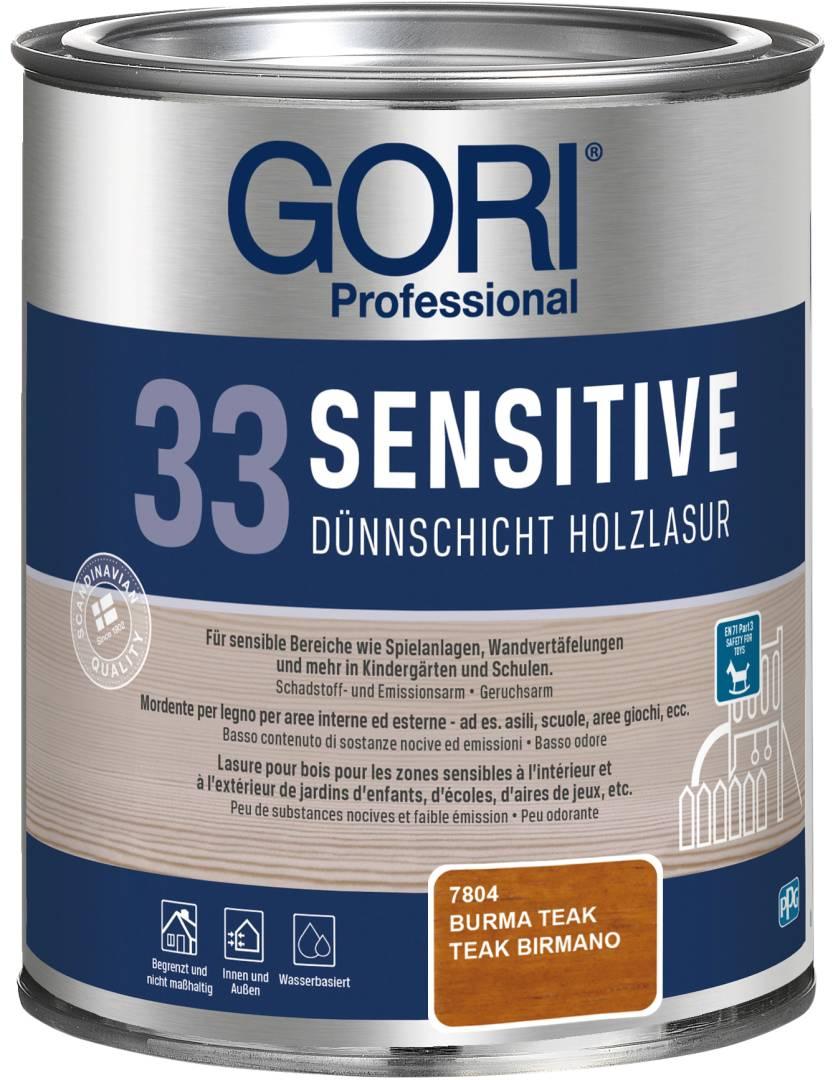 GORI Professional 33 SENSITIVE, Dünnschicht-Holzlasur, burma teak, 0,75 l