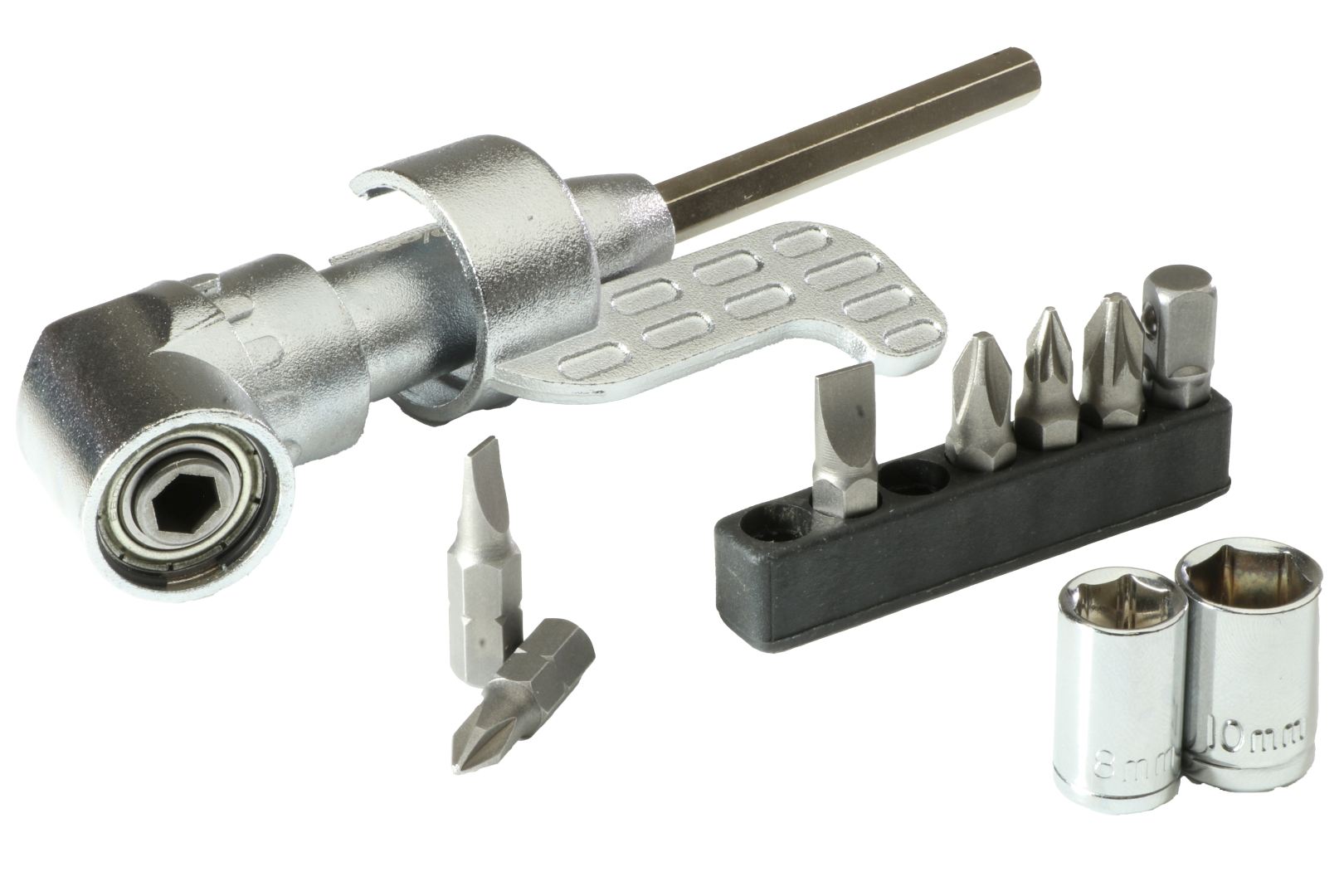 GO/ON Winkelschraubenvorsatz inkl. Bits, Dauer-Magnet, Stecknuss-Adapter und Stecknüsse, 10-teilig