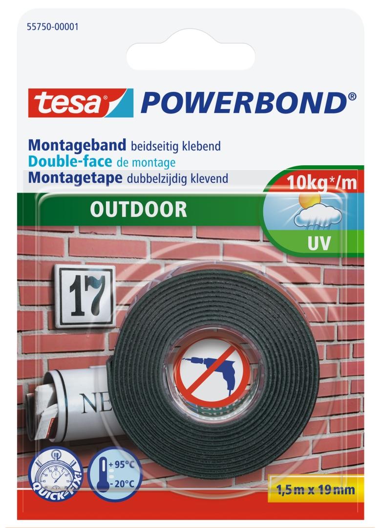 tesa POWERBOND OUTDOOR, Montageband beidseitig klebend, wasserfest, 1,5 m x 19 mm