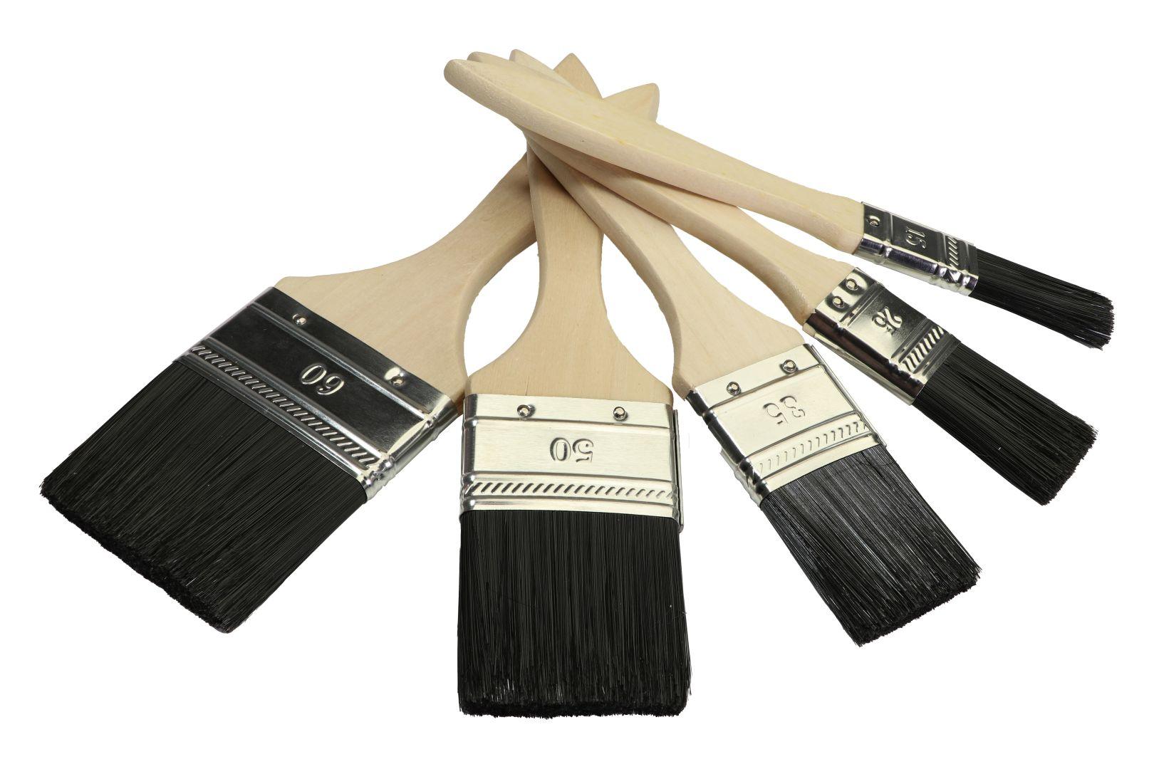 GO/ON Flachpinsel-Set, für kleine Streich- und Malerbeiten, 5-tlg, 15, 25, 35, 50 und 60 mm