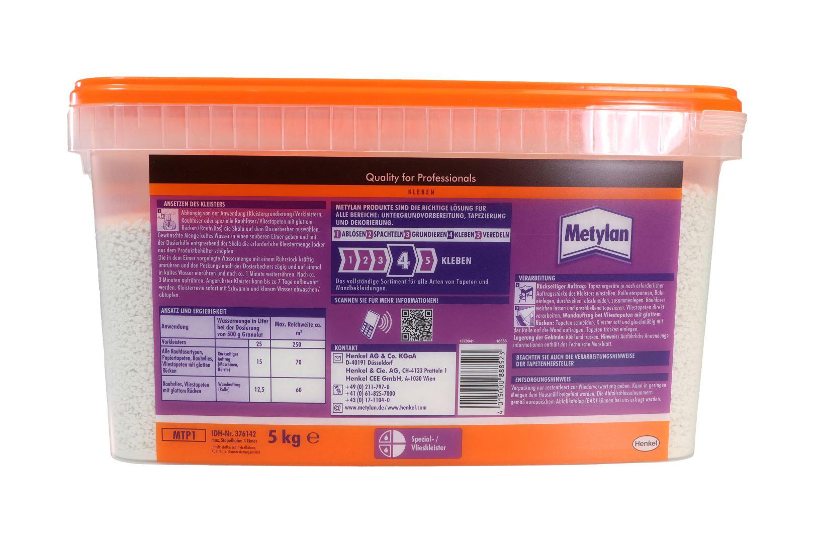 Metylan TG Power Granulat plus Tapeziergerätekleister, ausreichend für bis zu 700 m², 5 kg