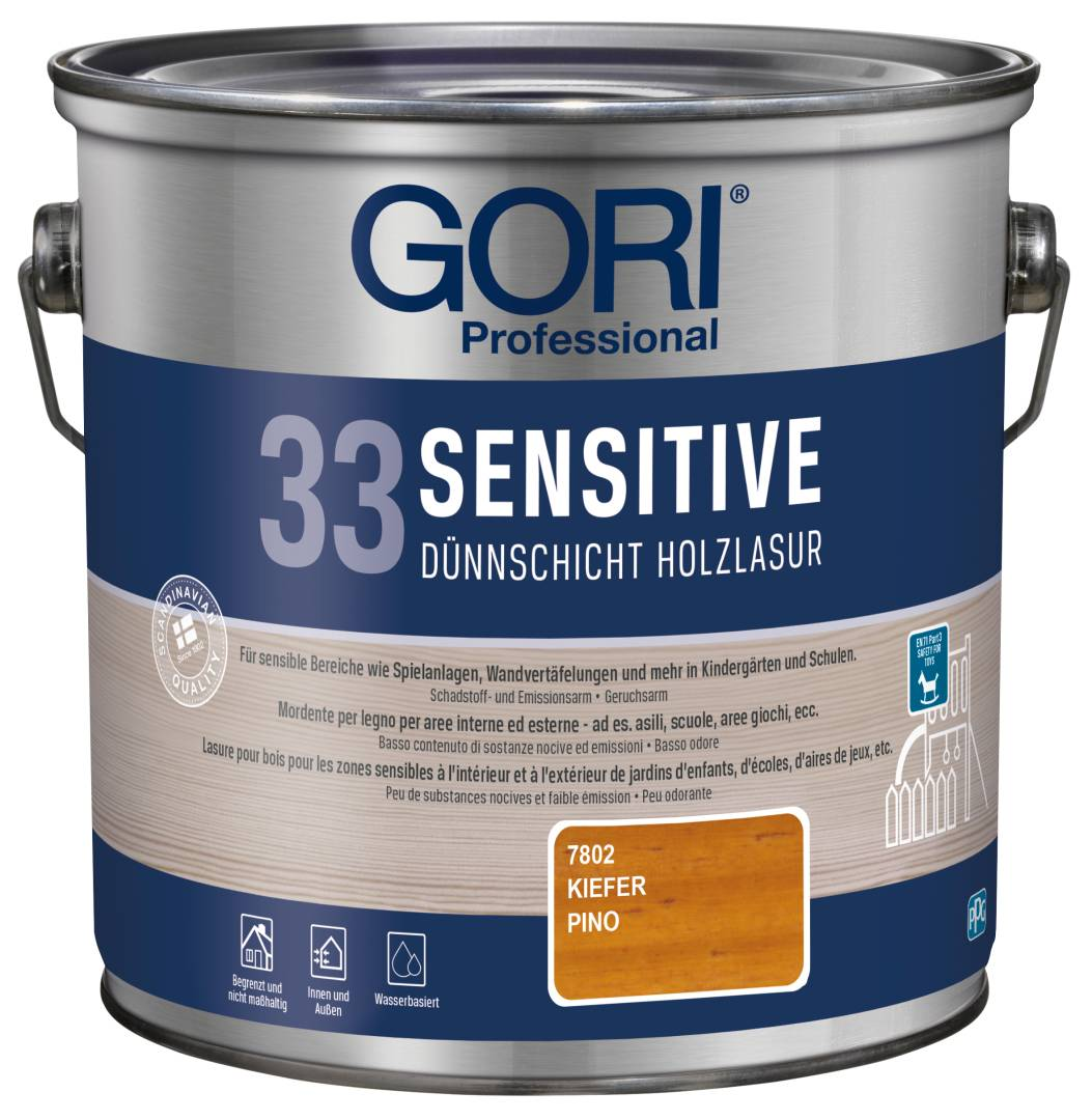 GORI Professional 33 SENSITIVE, Dünnschicht-Holzlasur, kiefer, 2,5 l